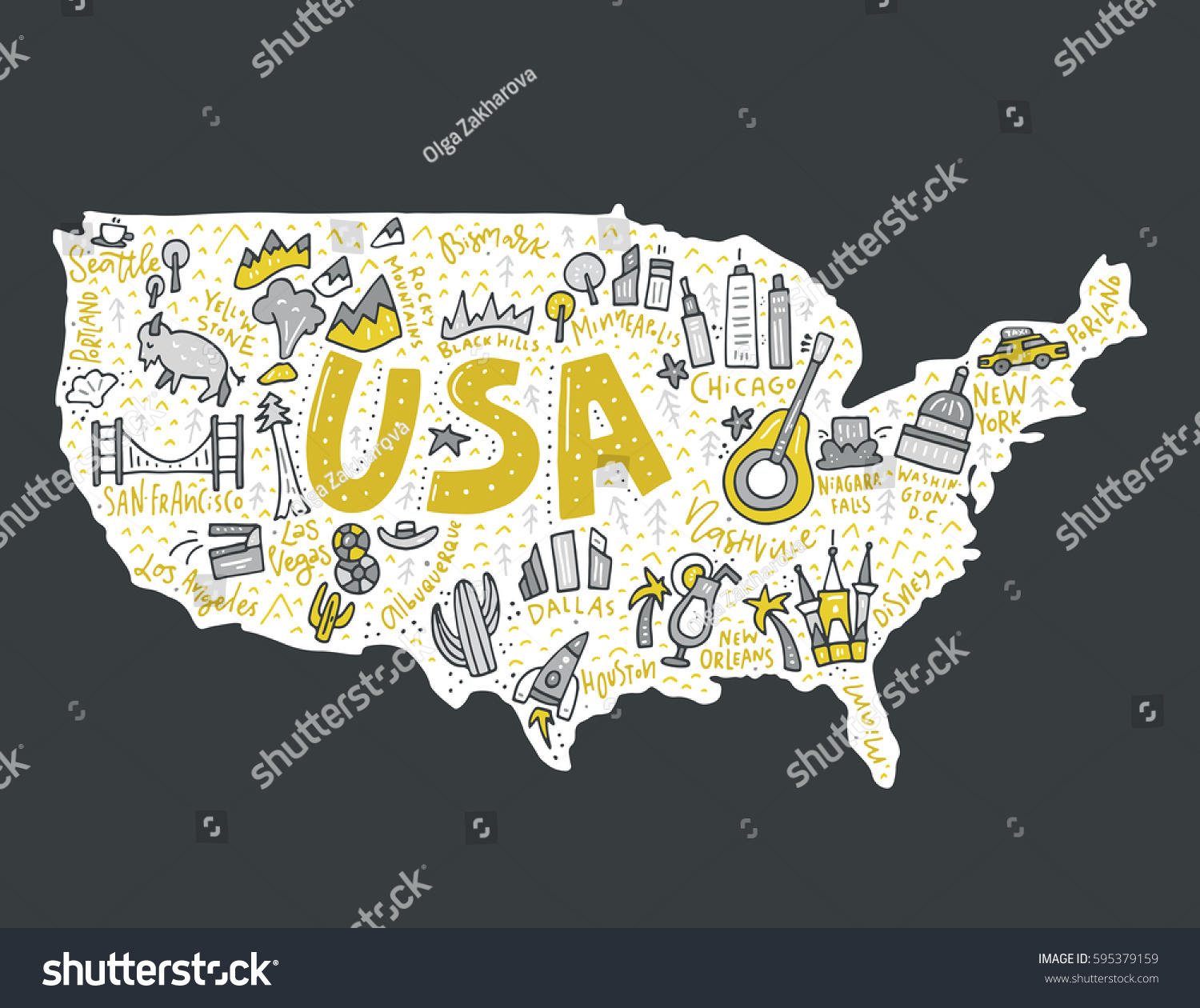 Map united states cartoon style travel stock vector 595379159 map of united states in cartoon style travel usa concept gumiabroncs Image collections