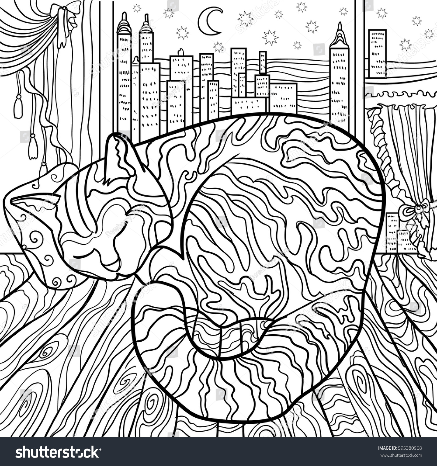 Beautiful Kitten Vector Illustration Cat Sleeps Doodle Coloring Book For Adults