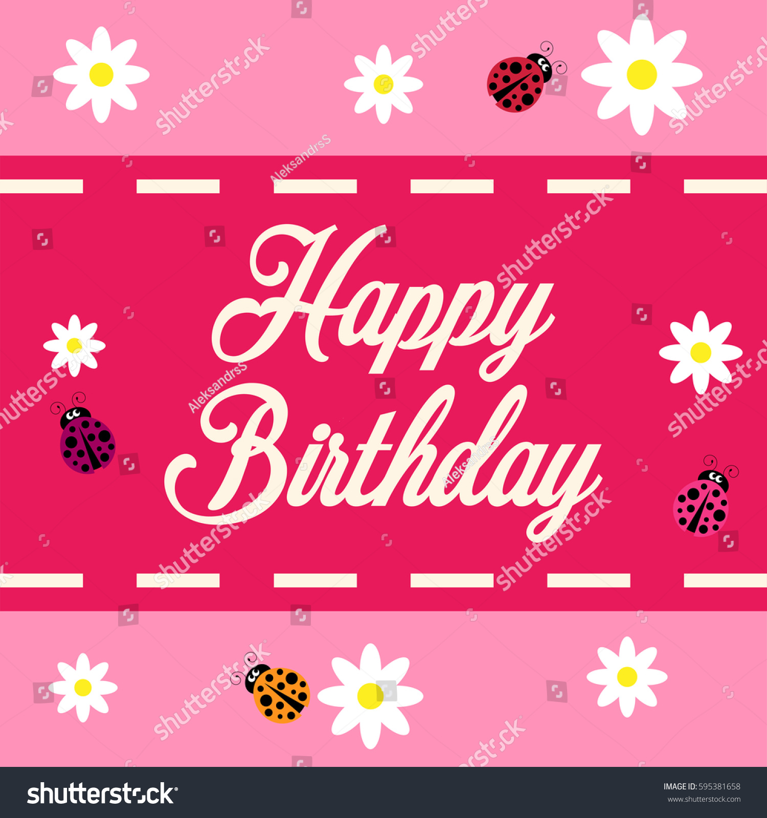 Happy Birthday Greeting Card Flowers Ladybugs Stock Vector 595381658