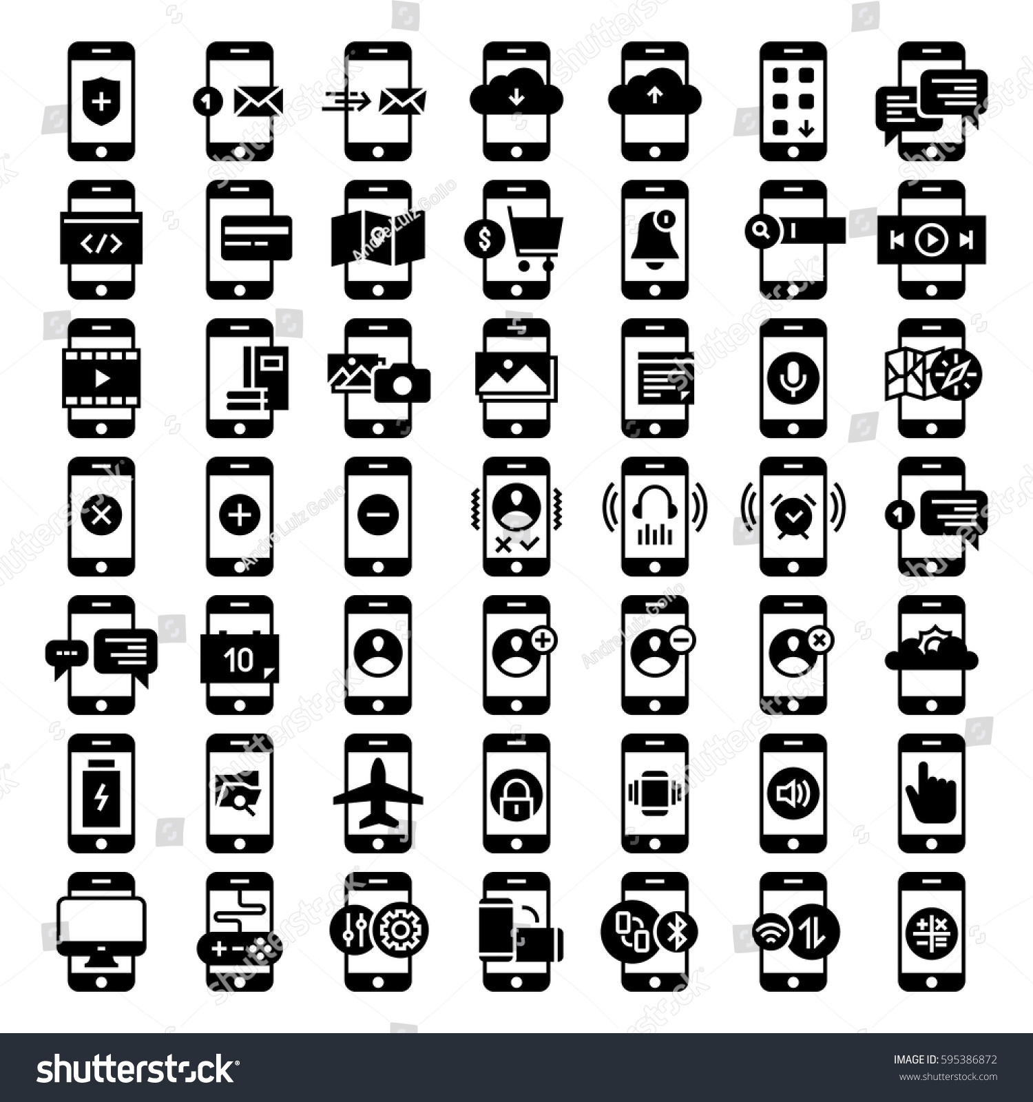 mobile functions icons smartphone kit set stock vector