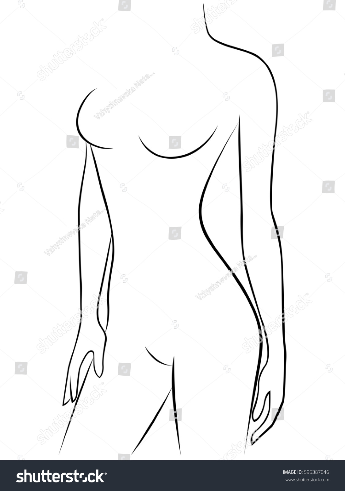 Attractive Young Graceful Female Body Abstract Stock Illustration