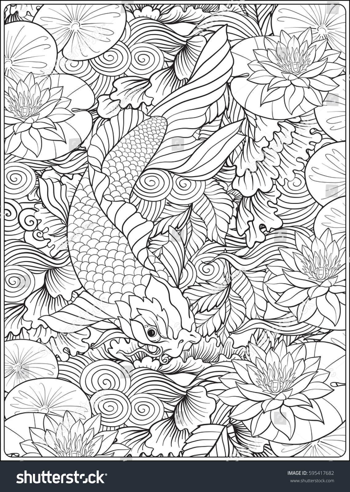 Lotus designs coloring book - Japanese Carp In Lake With Lotus Flowers Outline Drawing Coloring Page Coloring Book For
