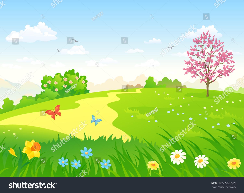 Vector Cartoon Illustration Beautiful Spring Hill Stock Vector