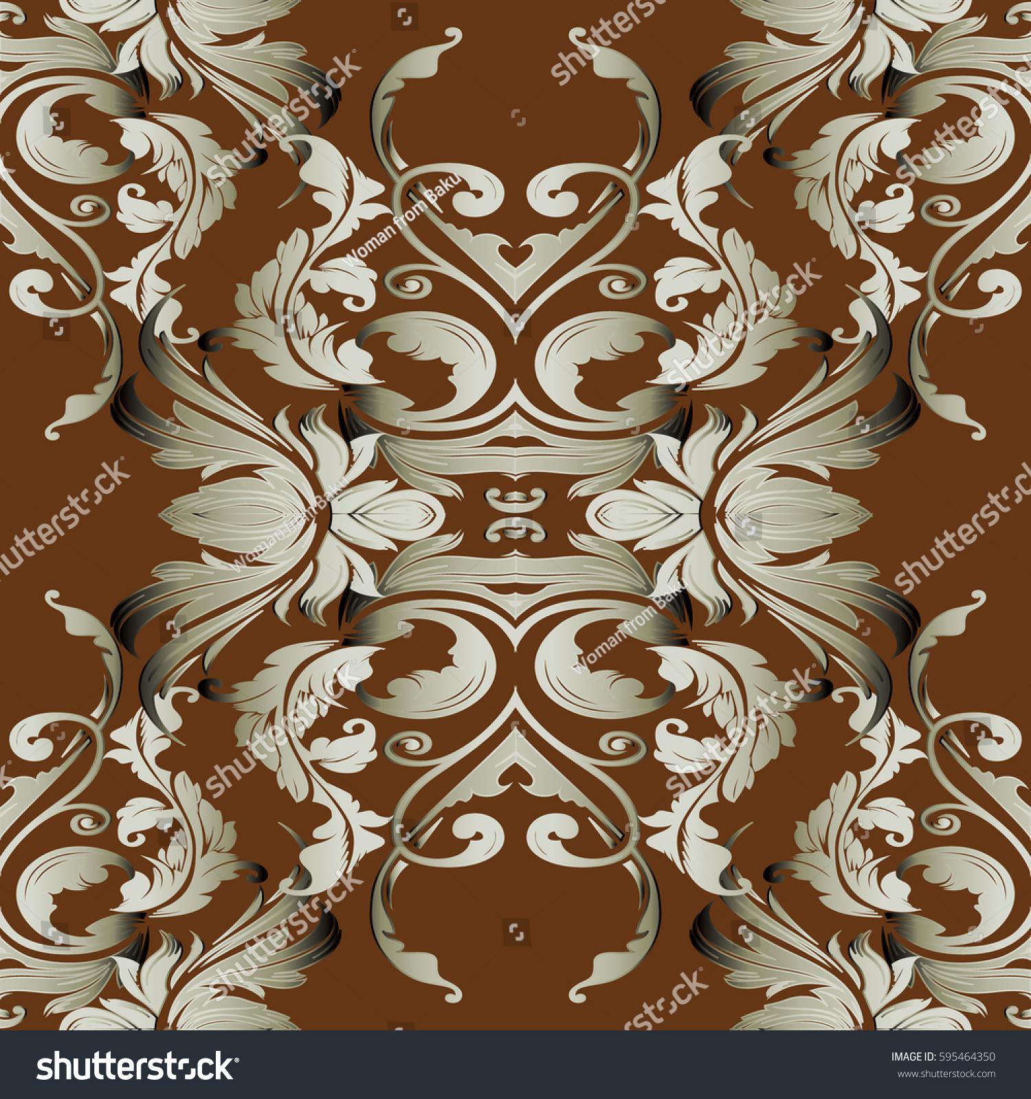 Baroque Floral Seamless Pattern Elegant Brown Background Wallpaper Illustration With 3d Beige Damask Ornaments In