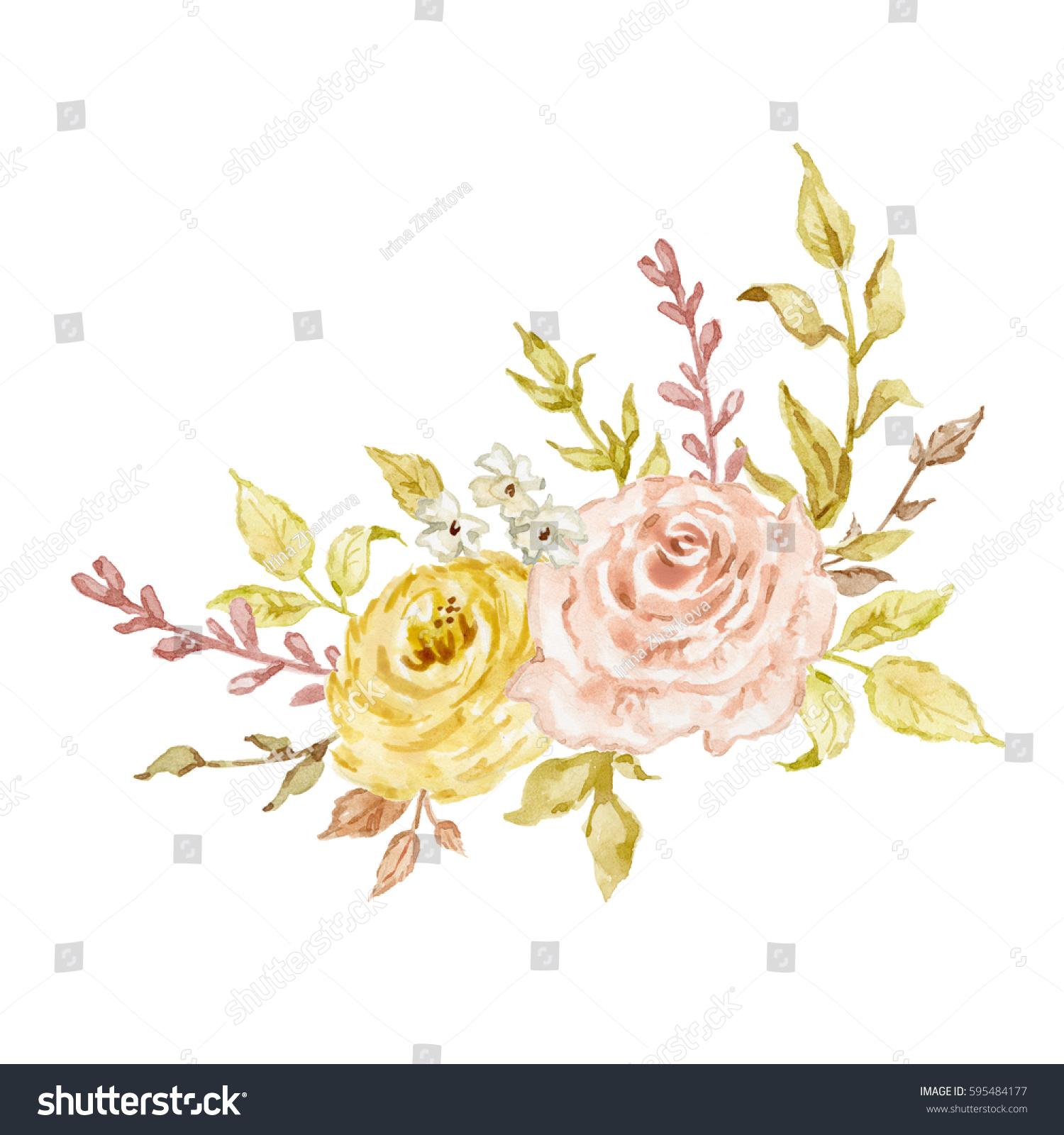 Painted Watercolor Composition Flowers Pastel Colors Stock ...