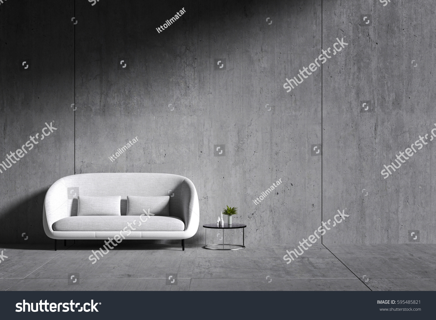 3d Rendering Room Minimalist Interior Light And Shadow With White Fabric Chair Book