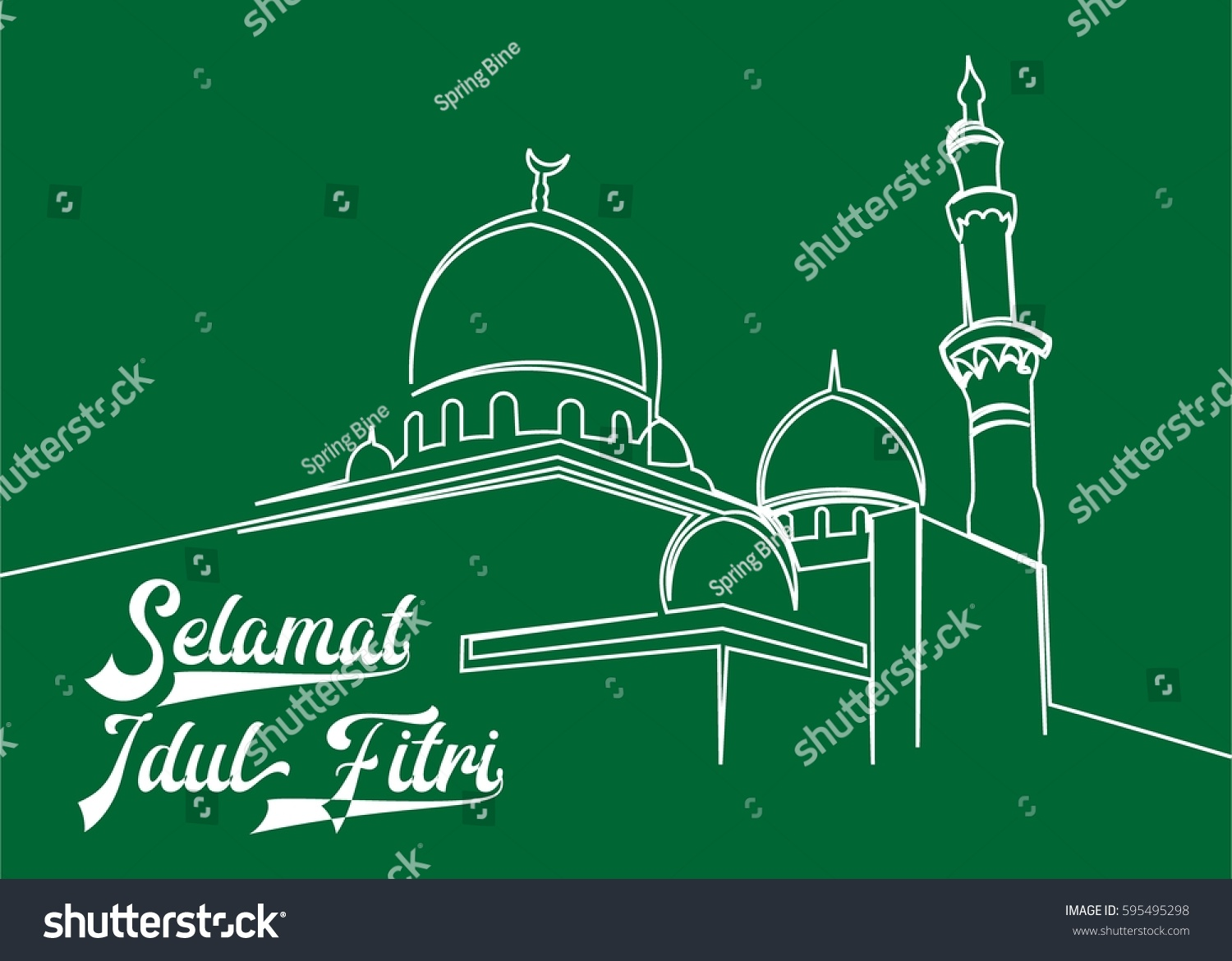 Continuous line drawing mosque greeting selamat stock vector continuous line drawing of mosque with greeting for selamat idul fitri with translate kristyandbryce Images