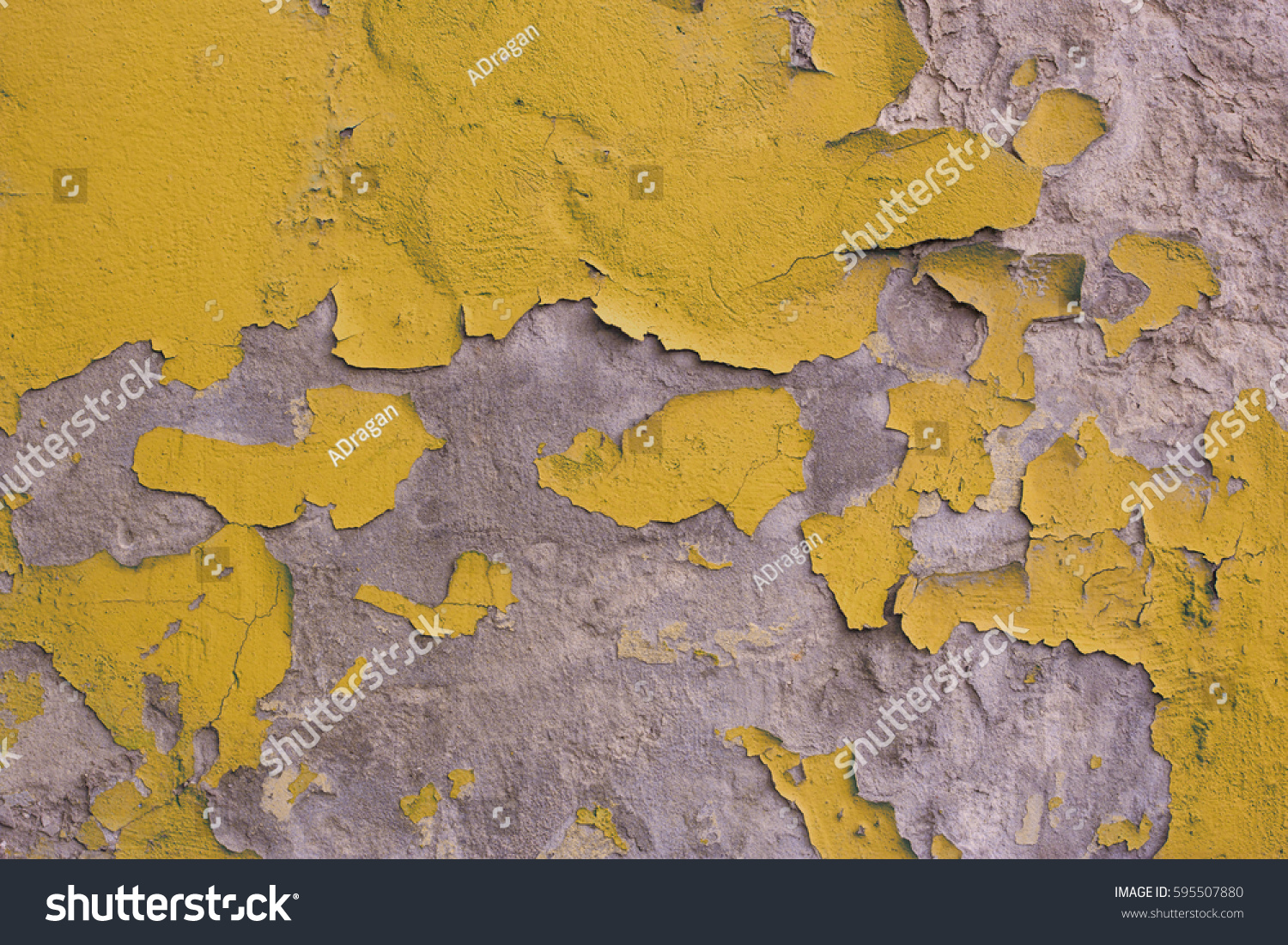 Old Wall Cracked Yellow Paint Plaster Stock Photo 595507880 ...