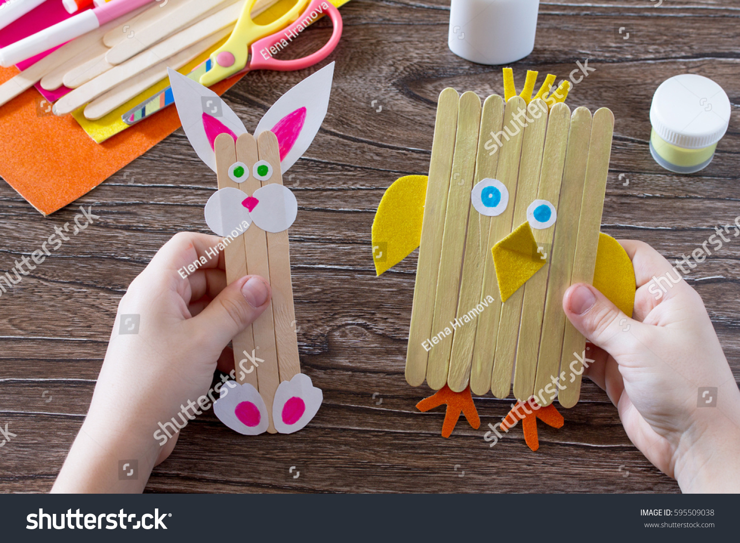 Childrens easter gift wooden chopsticks toy 595509038 childrens easter gift from wooden chopsticks toy chicken and easter bunny hand made negle Images