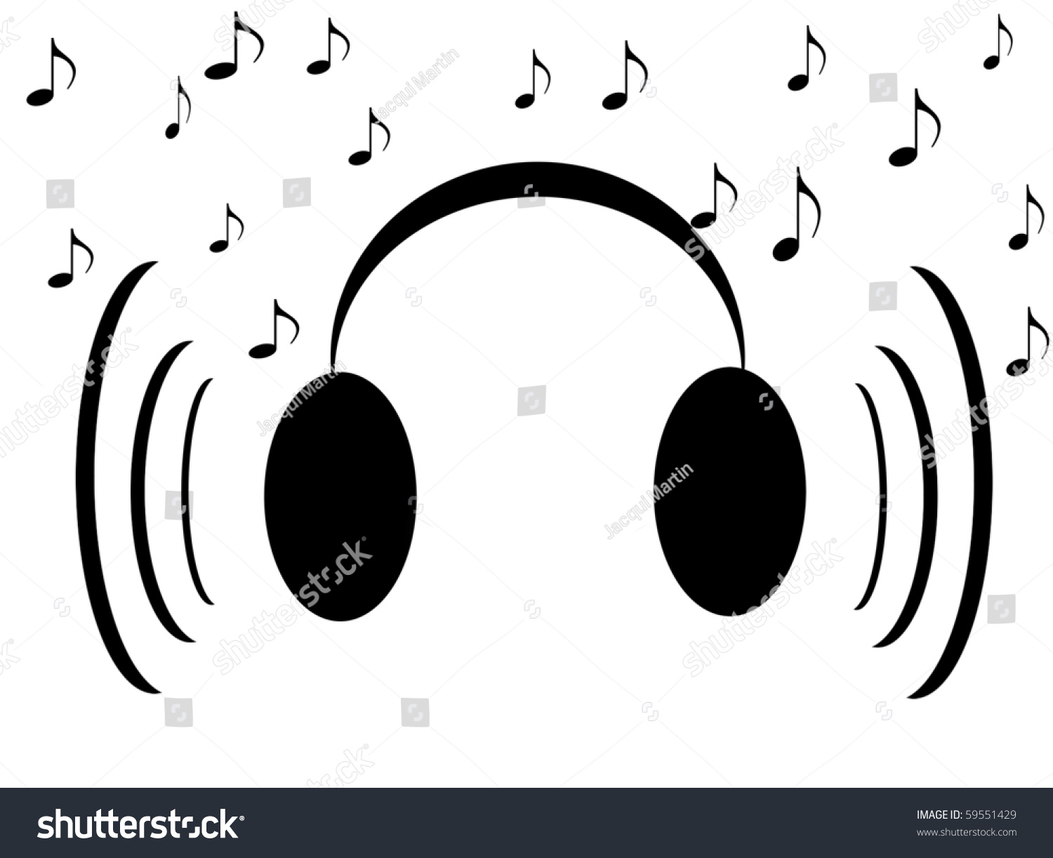 Headphones Music Notes: Headphones Surrounded By Musical Notes Stock Photo