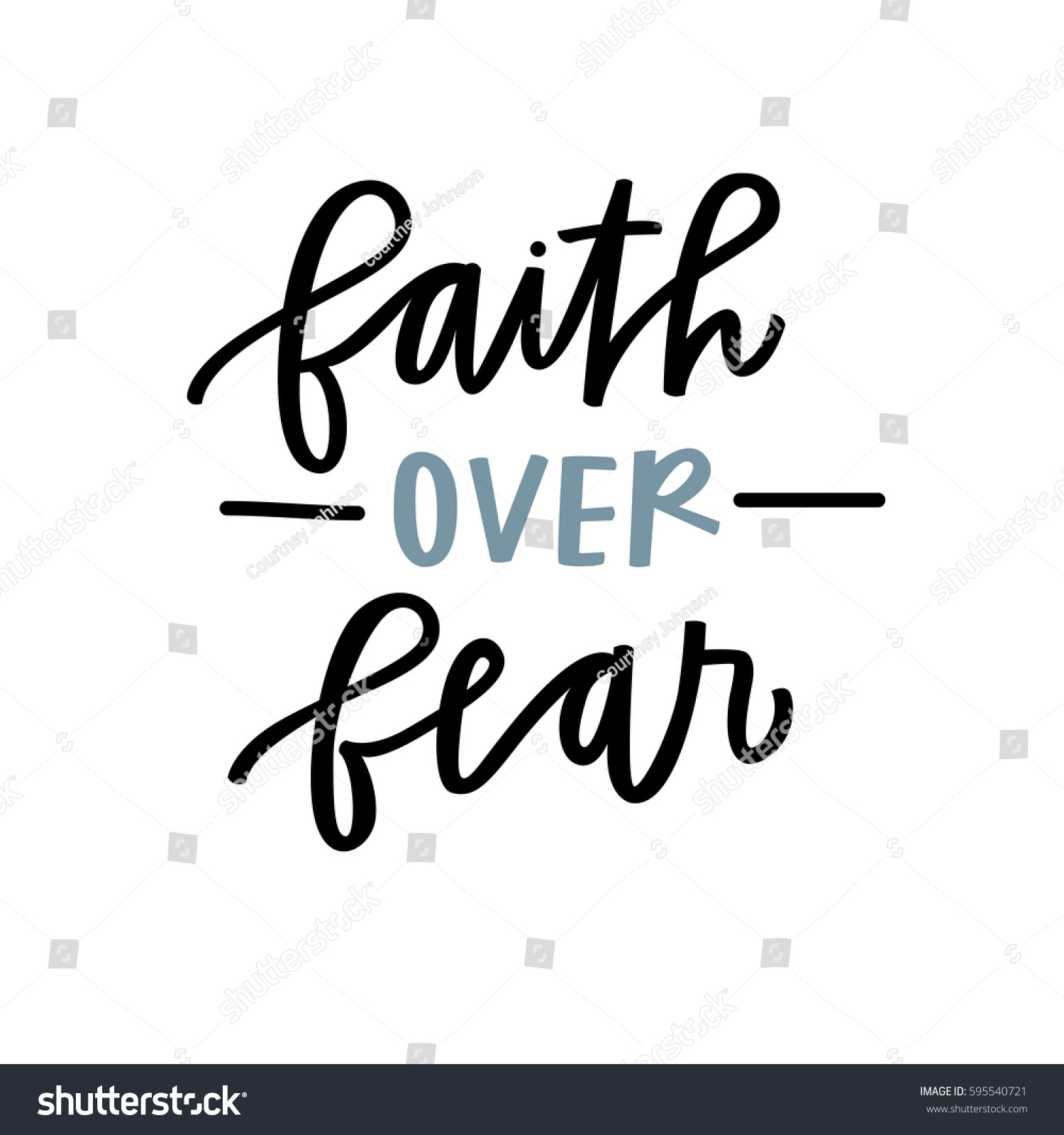 faith over fear stock vector 595540721