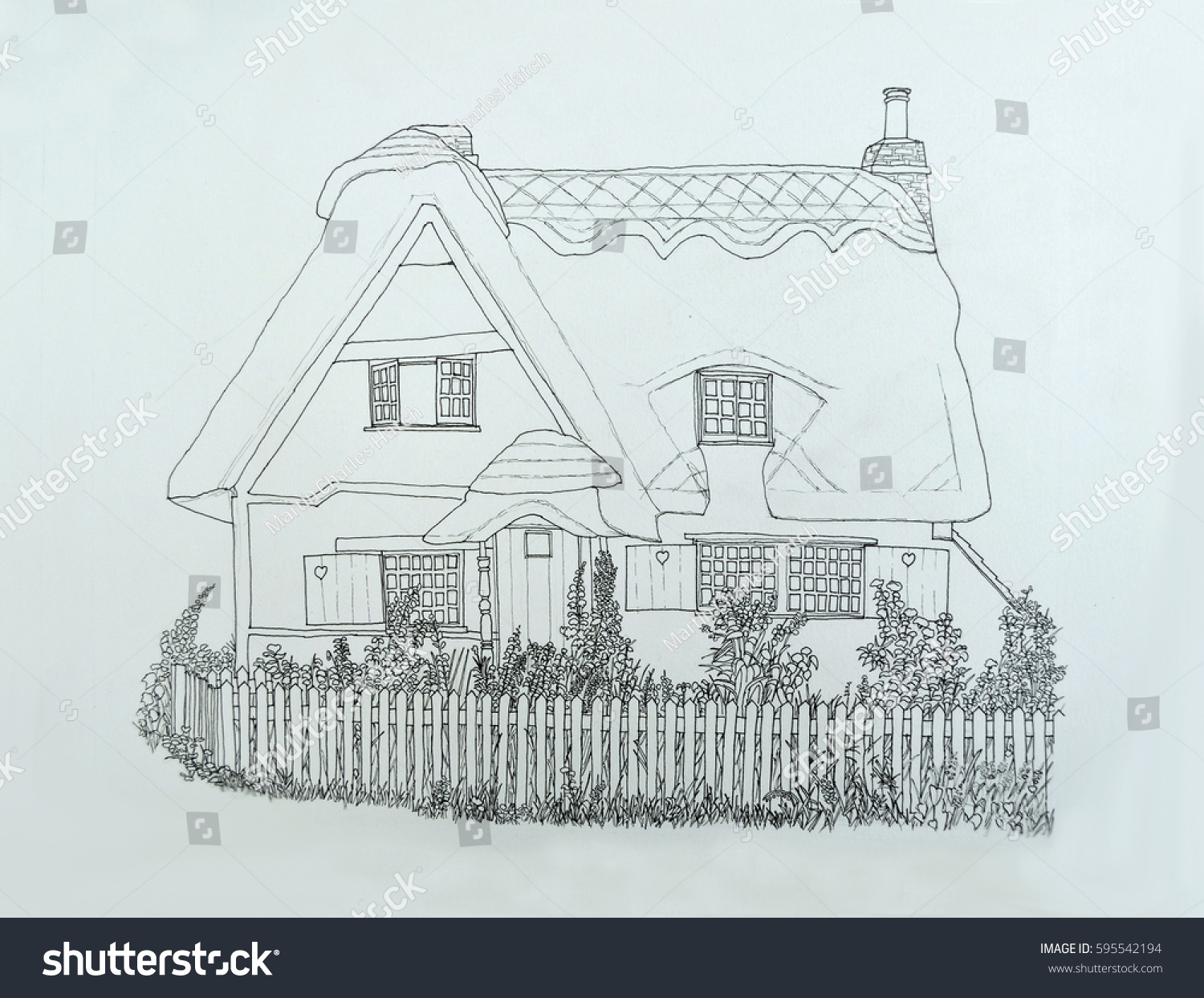 picket fence drawing. Ink Line Drawing Of English Thatched Cottage With Garden And Picket Fence. Fence