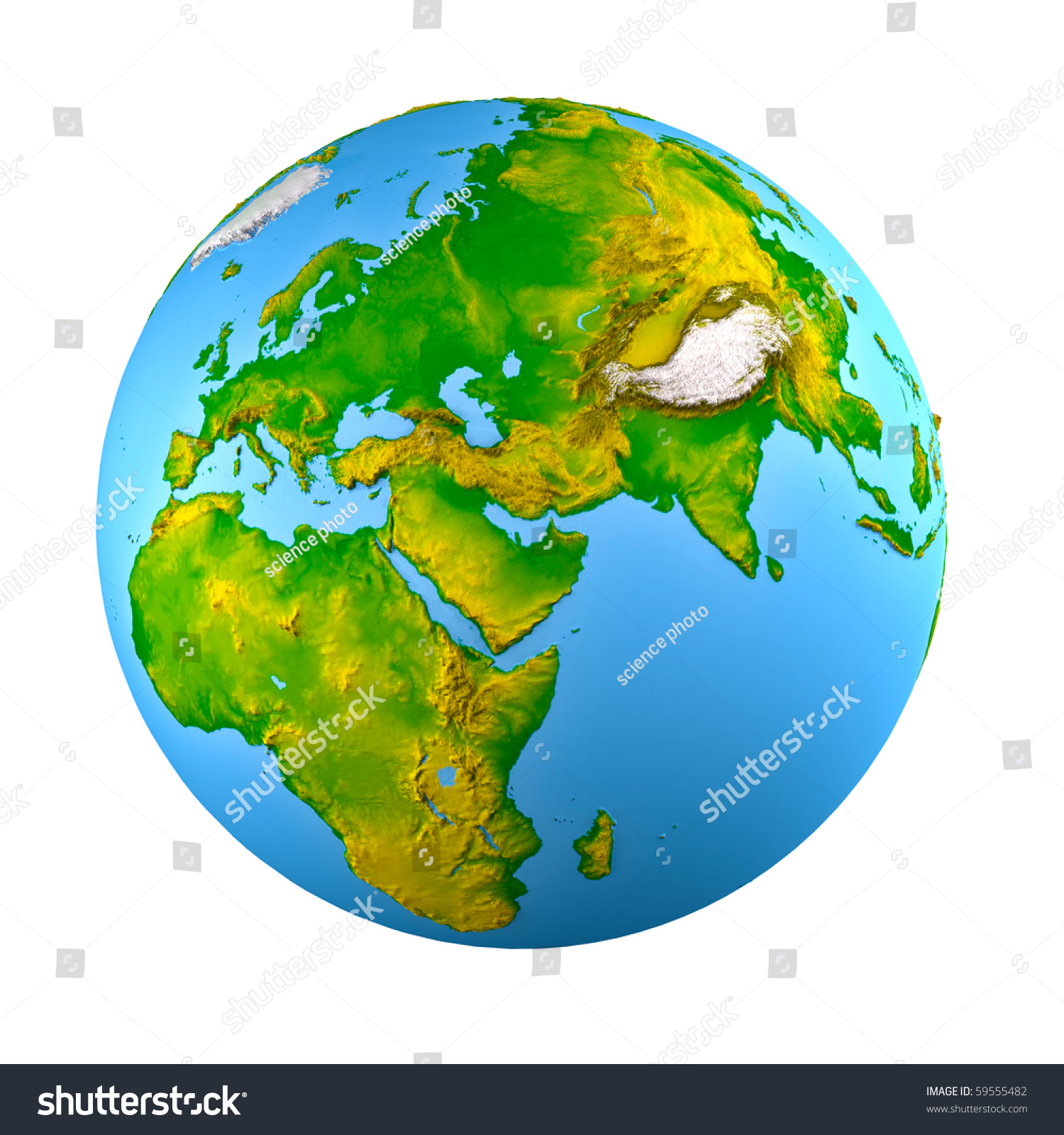 3d Earth Model Shaded Relief Stock Illustration 59555482 ...