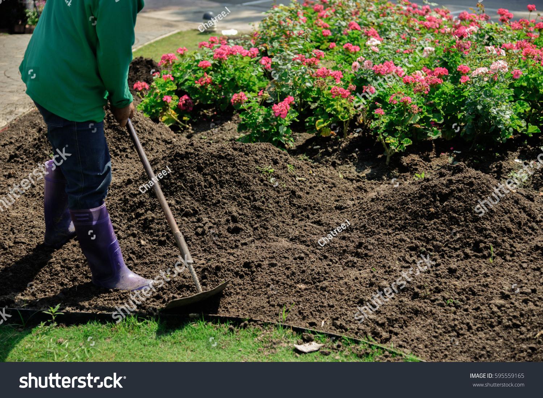 View Gardener Working Garden Mixing Soil Stock Photo (Edit Now ...