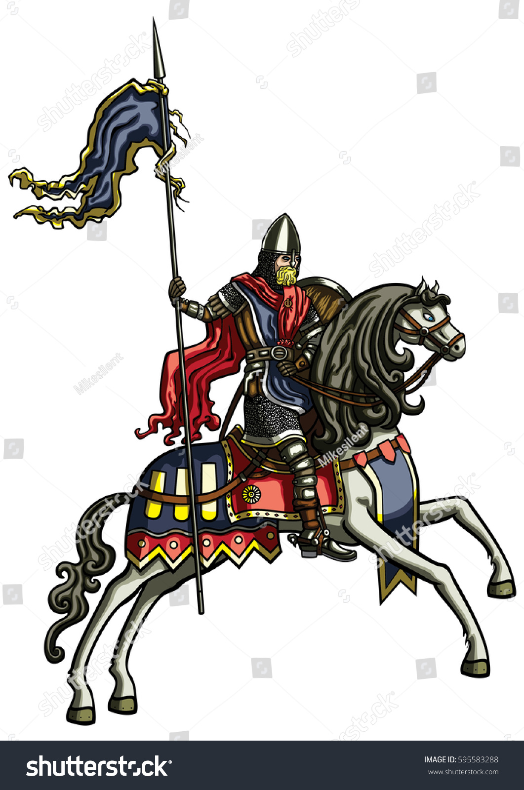 Ilustracion De Stock Sobre Medieval Warrior On Horse Illustration Medieval 595583288