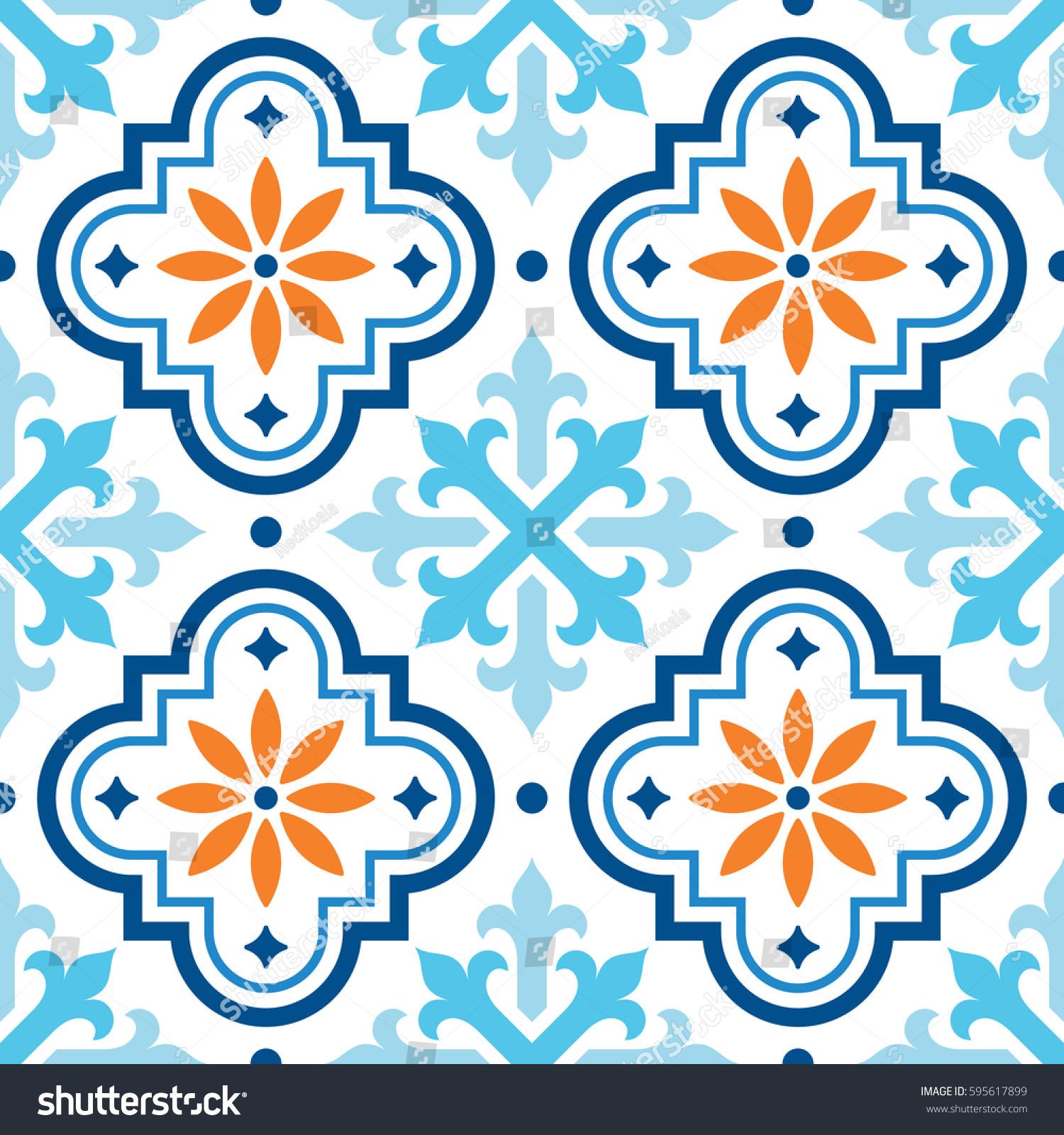Spanish Tile Pattern Moroccan Tiles Design Stock Vector 595617899 ...
