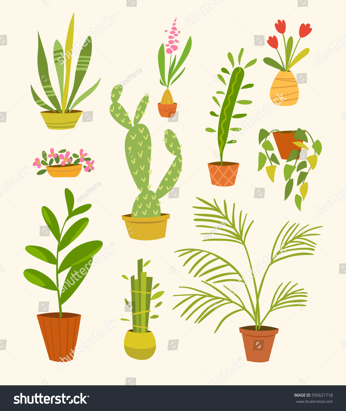 Vector set different indoor plants pots stock vector 595621718 shutterstock - Home plants types ...