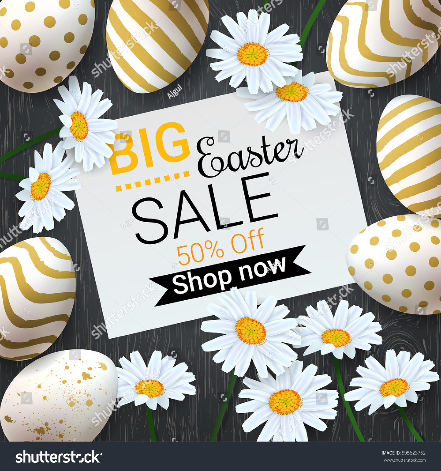Big easter sale background beautiful daisy stock photo photo big easter sale background with beautiful daisy flowers and golden decorated eggs vector template for izmirmasajfo Images