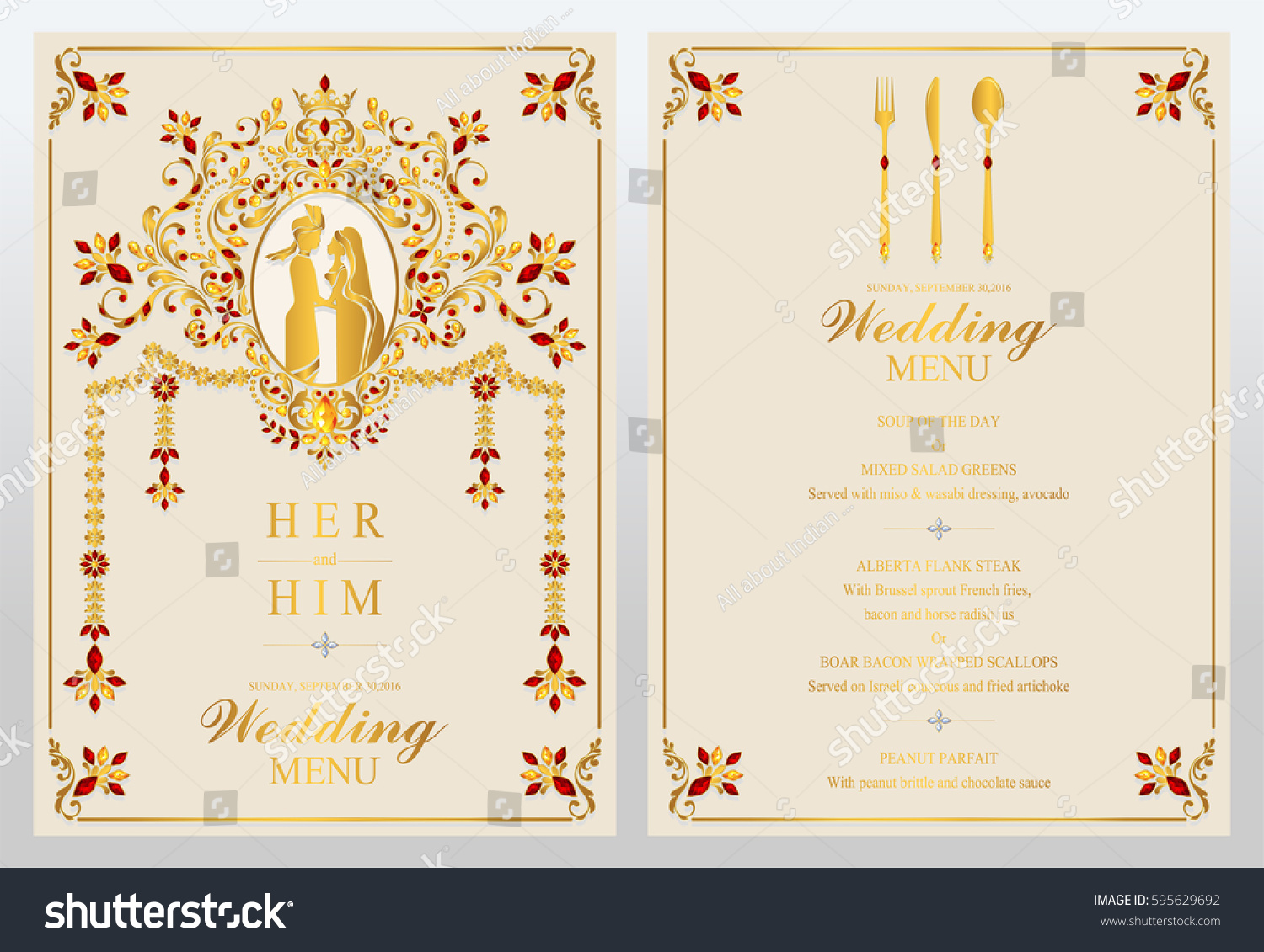 Indian Wedding Menu Card Templates Gold Stock Vector (2018 ...
