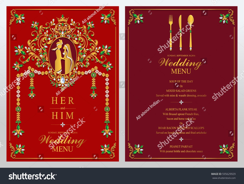 Indian Wedding Menu Card Templates Gold Stock Vector (Royalty Free ...