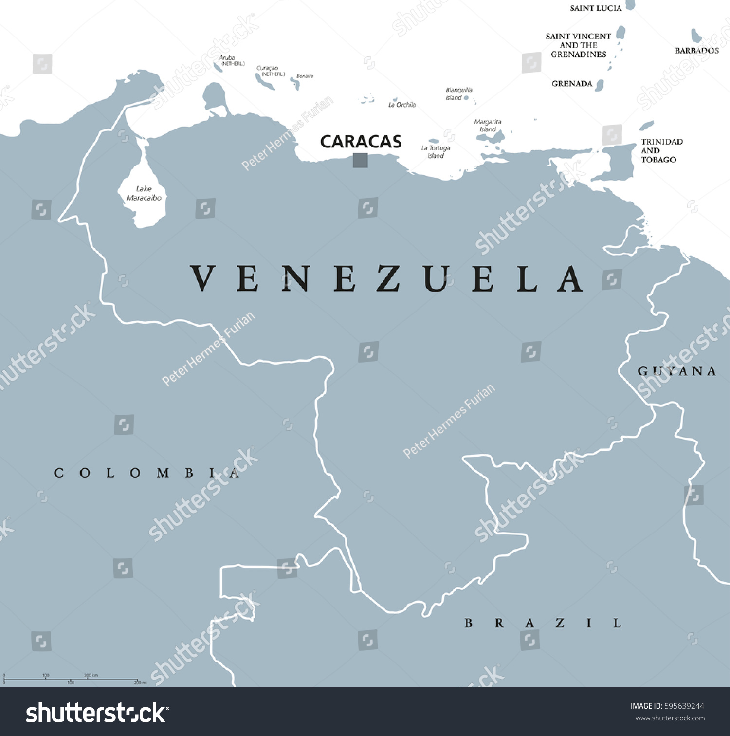 Venezuela Political Map Capital Caracas National Stock Vector - Caracas on world map
