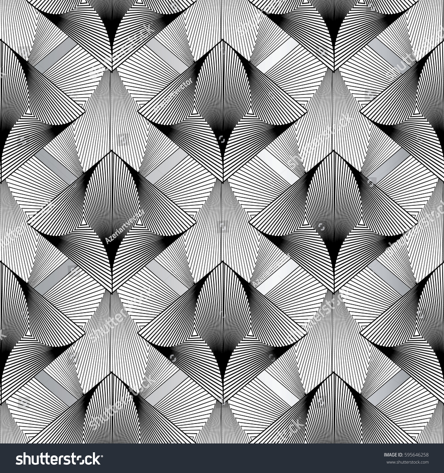 Modern 3d Geometric Seamless Pattern Stylish Abstract Isolated Black And White Floral Background Luxury