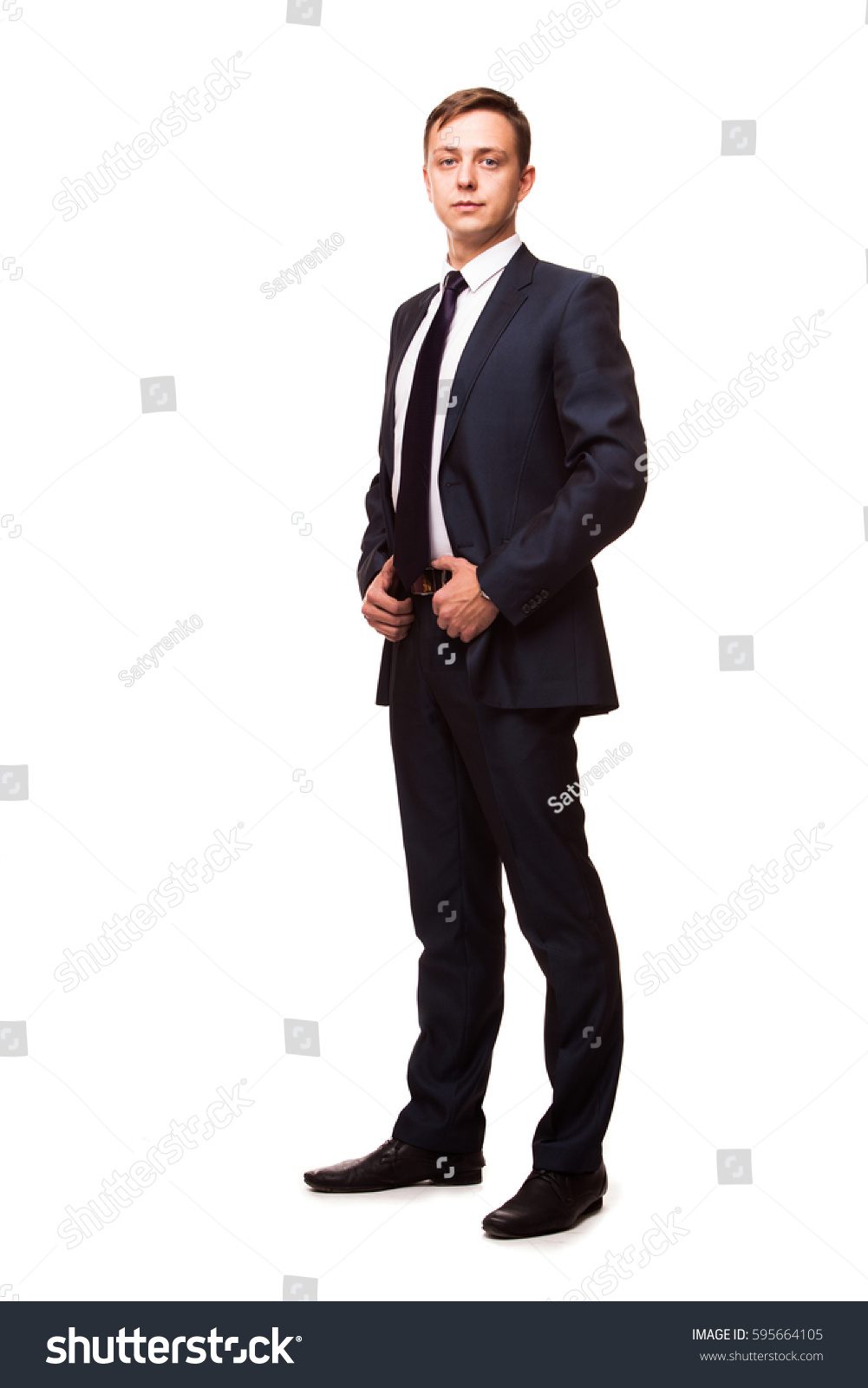 stylish young man suit tie business stock photo 595664105