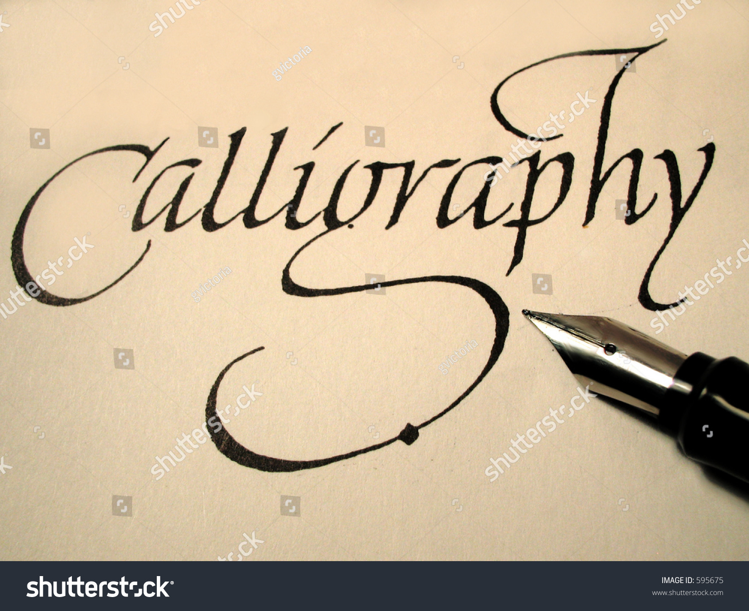 Calligraphy Pen Writing Stock Photo 595675 Shutterstock