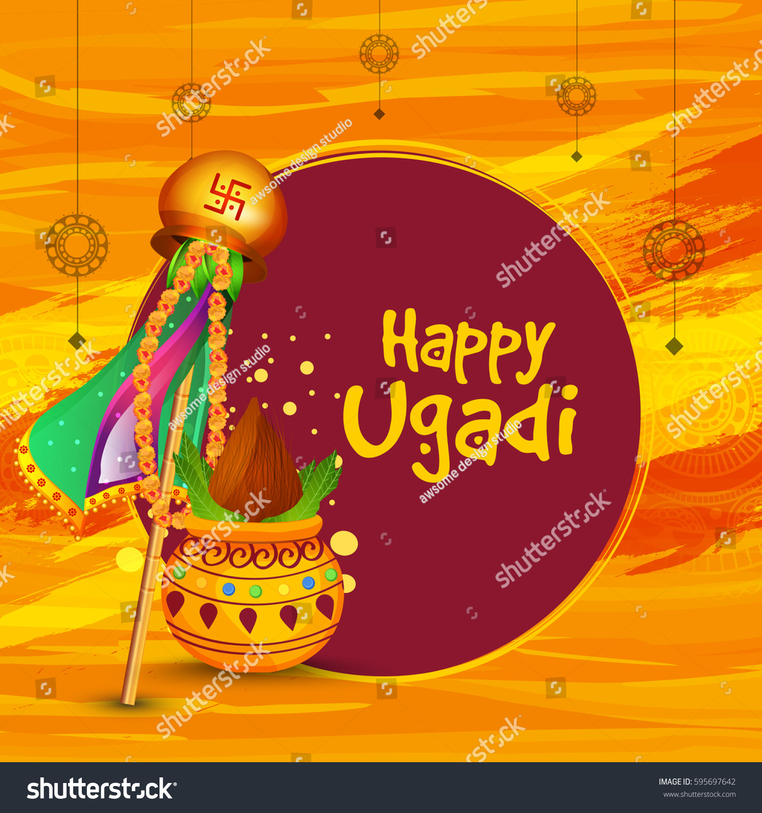 Greeting Card Background Festival Ugadi Celebration Stock Photo
