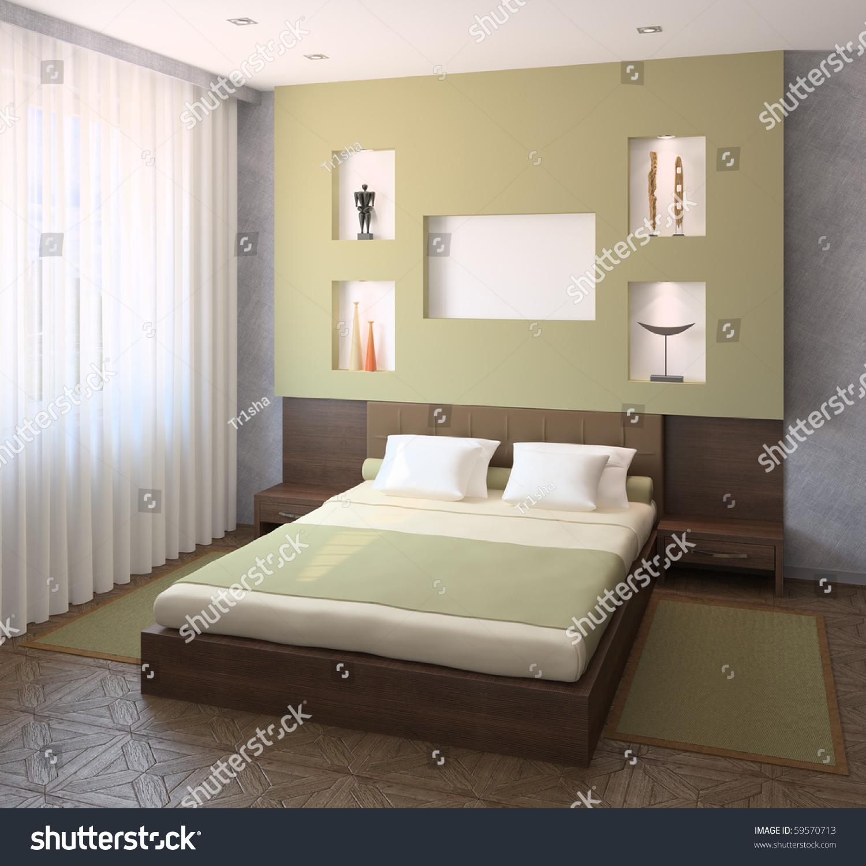 Interior Modern Bedroom 3d Render Stock Illustration