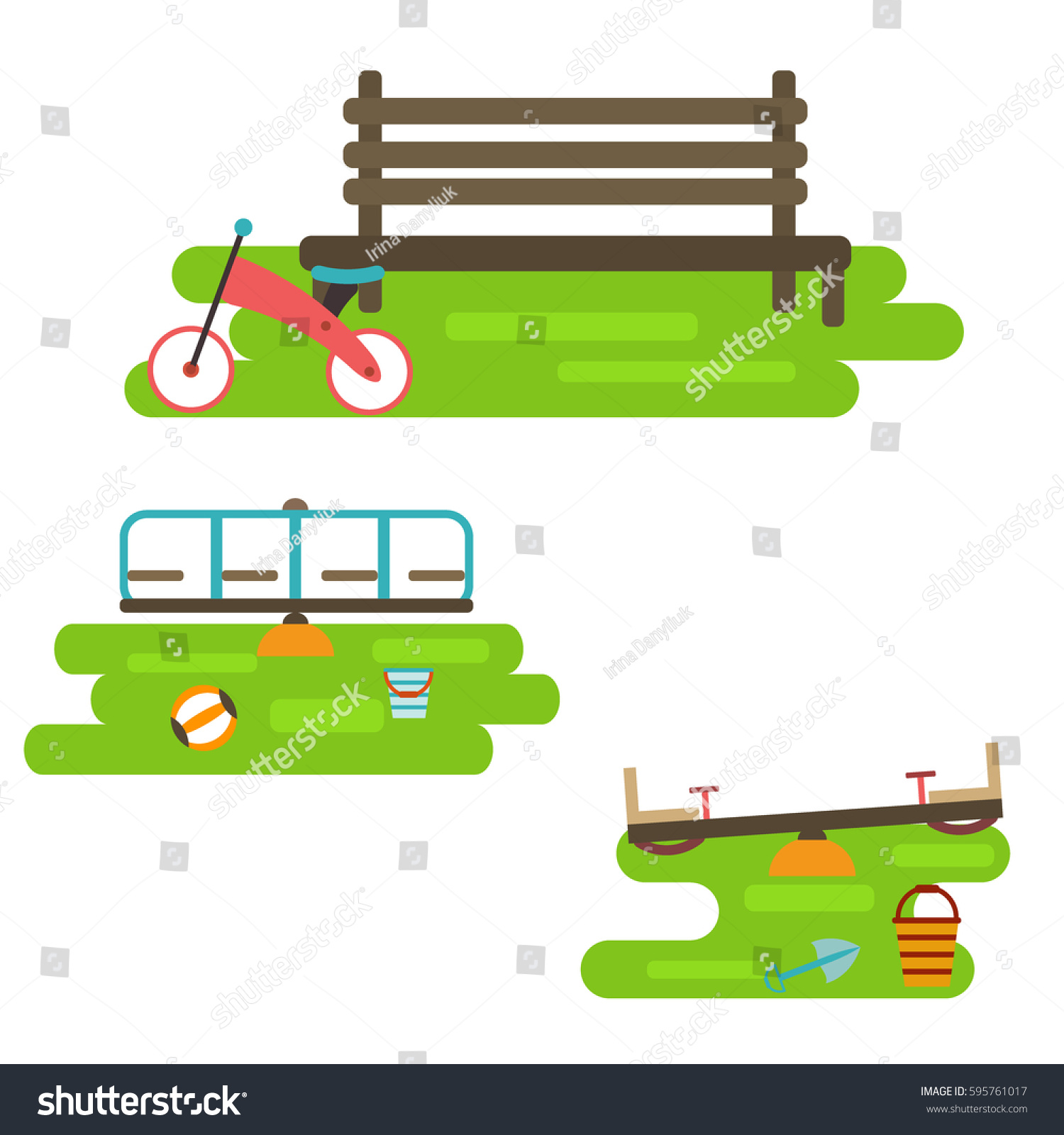 Kids Playground Elements City Construction Create Stock Vector