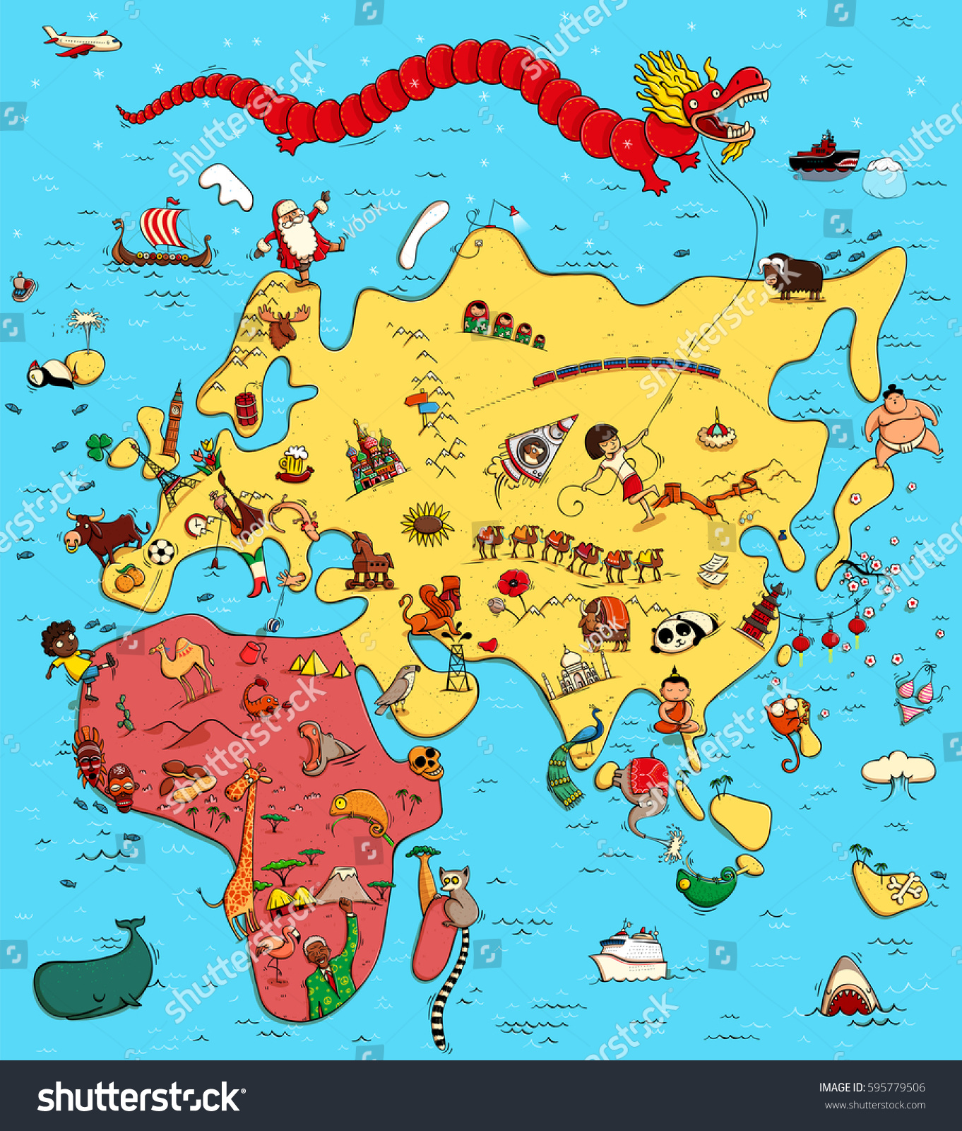 Illustrated Map Europe Asia Africa Funny Stock Vector Royalty Free