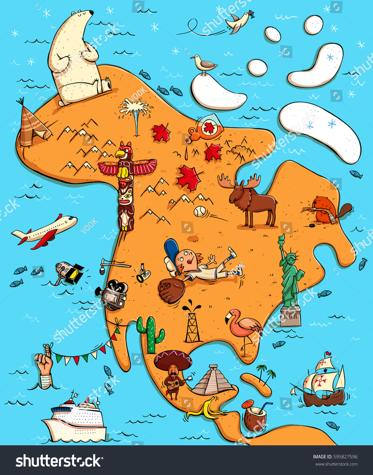 Illustrated map north america funny typical vectores en stock illustrated map north america funny typical vectores en stock 595827596 shutterstock gumiabroncs Image collections