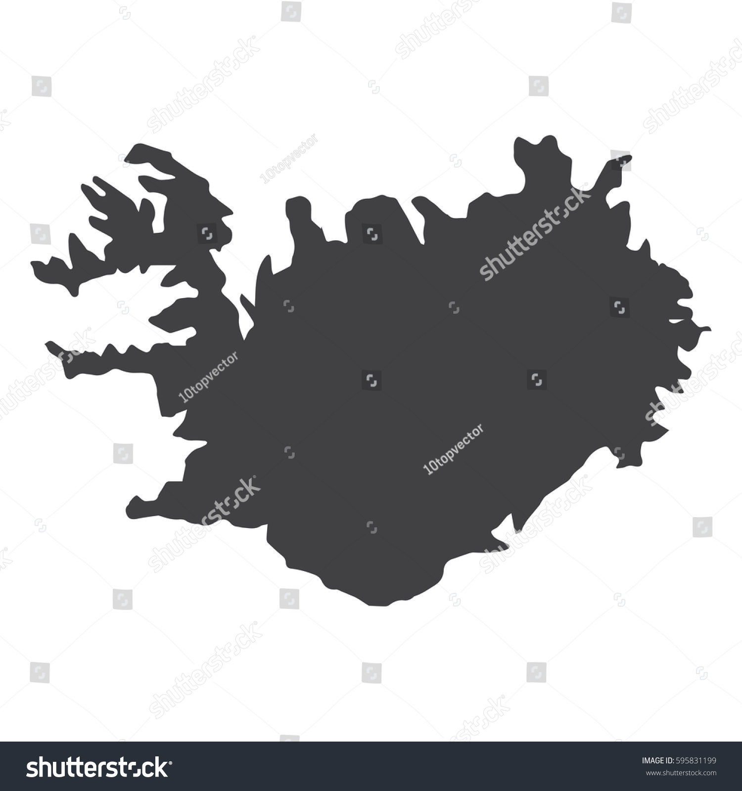 Iceland Map Black On White Background Stock Vector 595831199 ...
