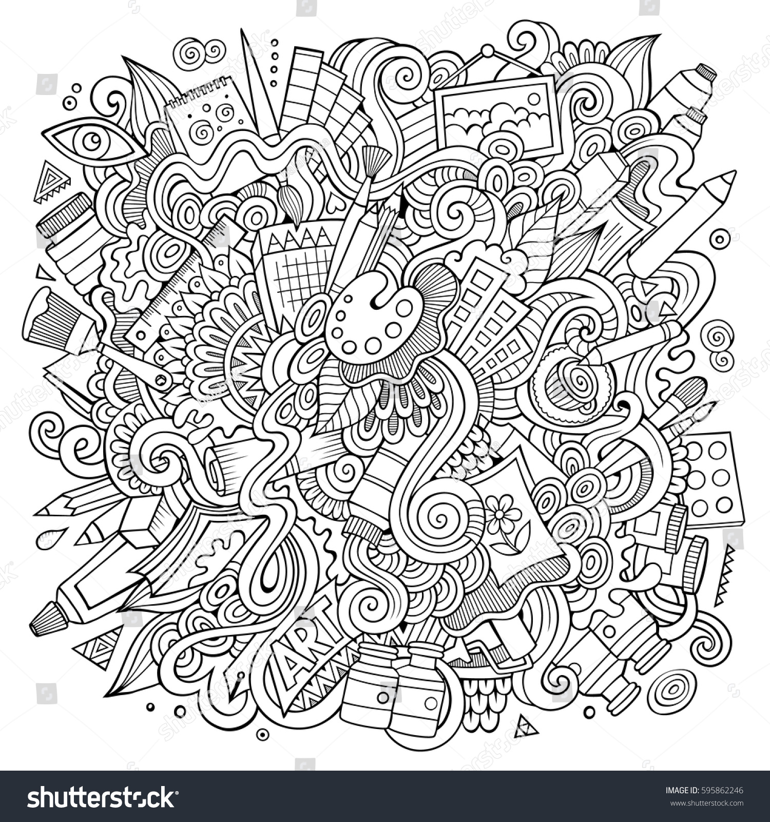 Line Drawing Doodles : Cartoon cute doodles hand drawn artistic stock vector