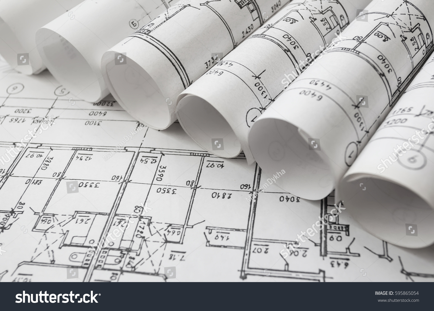 Architect workplace architectural project blueprints blueprint architectural project blueprints blueprint rolls on wooden desk table construction malvernweather Image collections