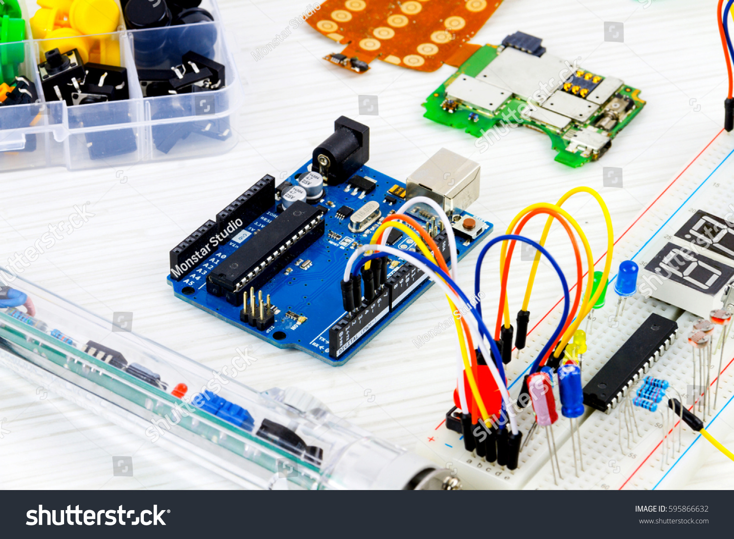 Microcontrollers Chips Resistors Lightemitting Diodes On Stock Photo Light Emitting Circuits And White Desktop Of Hardware Engineer