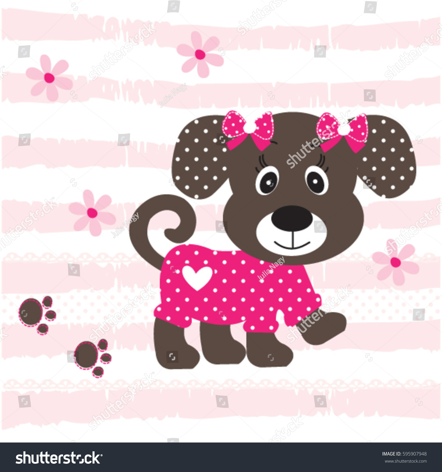 Cute baby dog cartoon on striped stock vector 595907948 shutterstock cute baby dog cartoon on striped background baby shower t shirt graphics for voltagebd Images