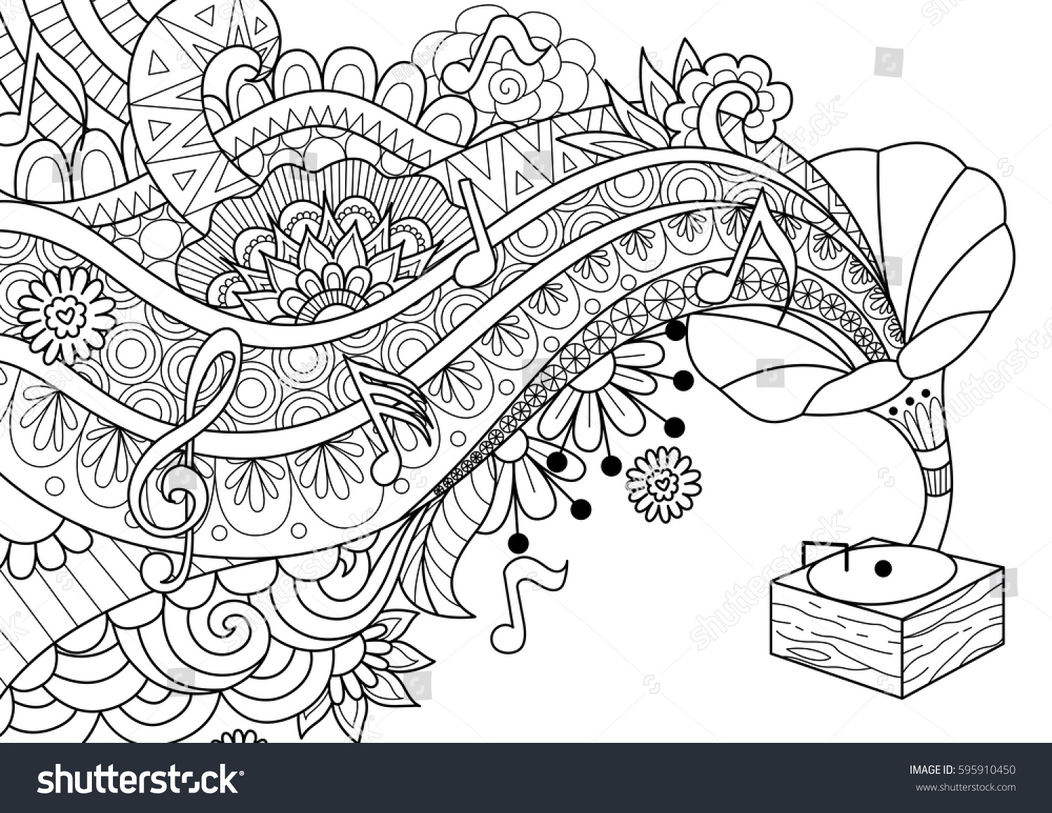 Old Bronze Phonograph Doodle Design For Coloring Book Page