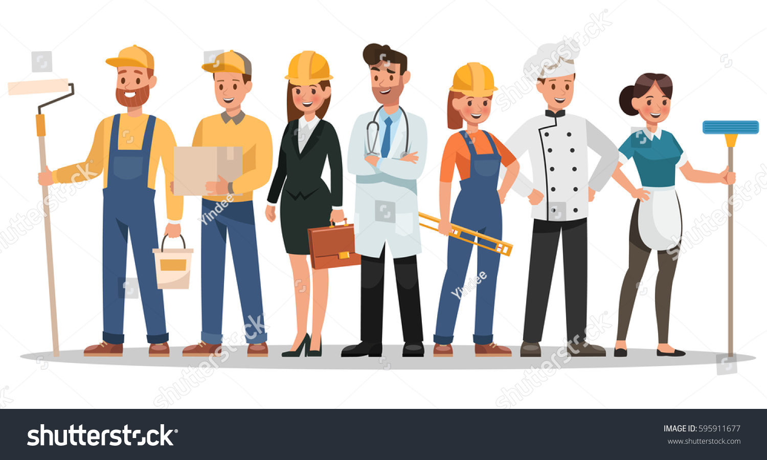 career characters design include painter engineer stock vector 595911677 shutterstock. Black Bedroom Furniture Sets. Home Design Ideas