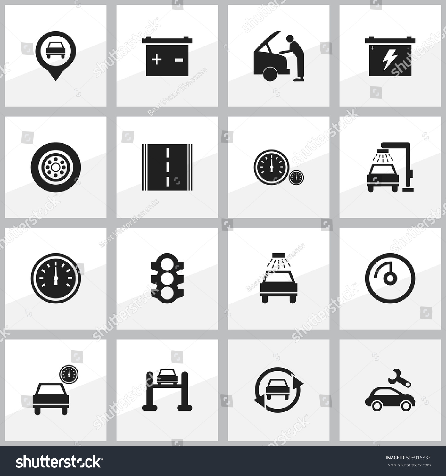 Set 16 Editable Car Icons Includes Stock Vector 595916837 Shutterstock
