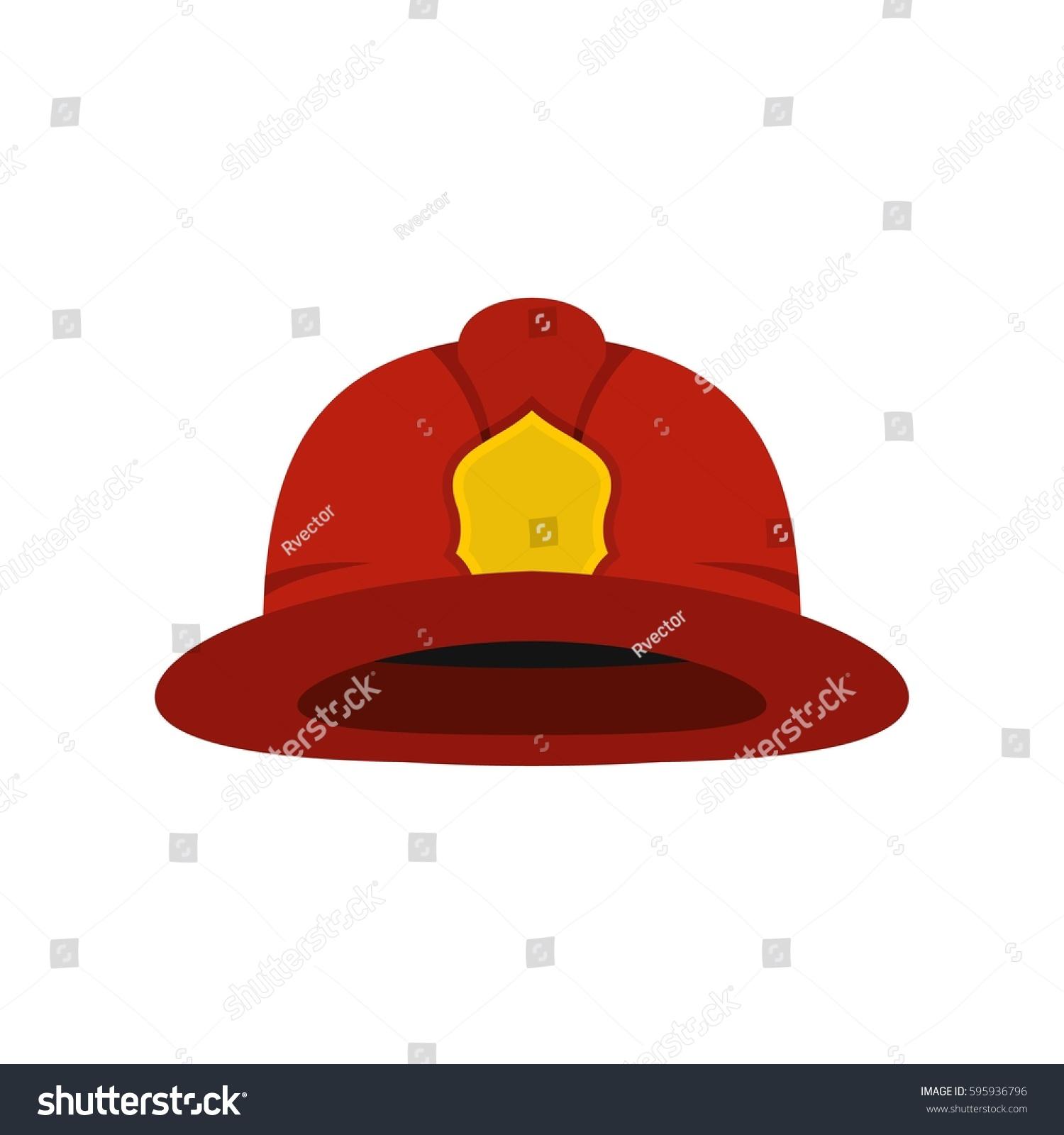 red fireman helmet icon flat illustration stock vector 595936796