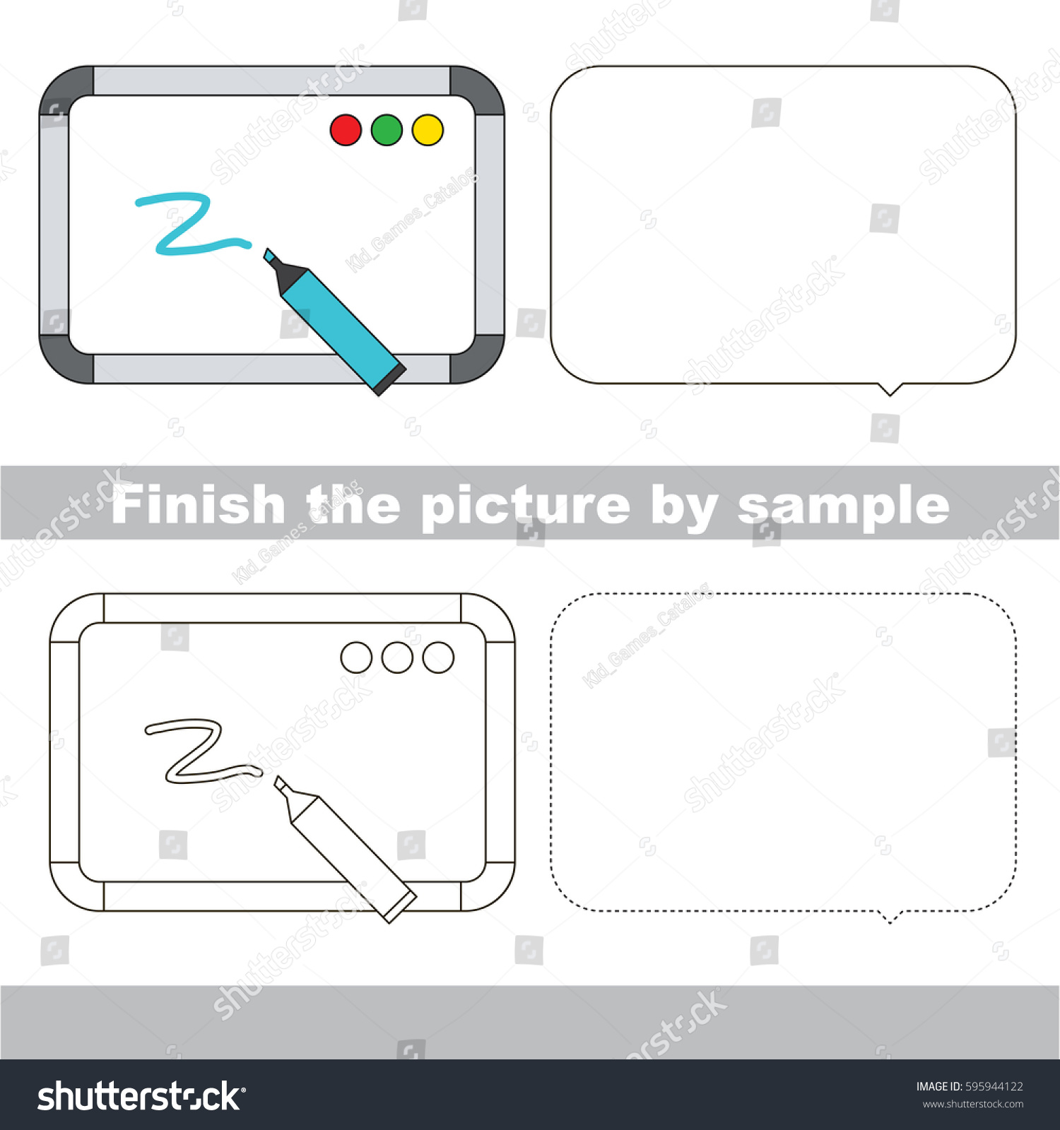 drawing worksheet preschool kids easy gaming stock vector 595944122 shutterstock. Black Bedroom Furniture Sets. Home Design Ideas
