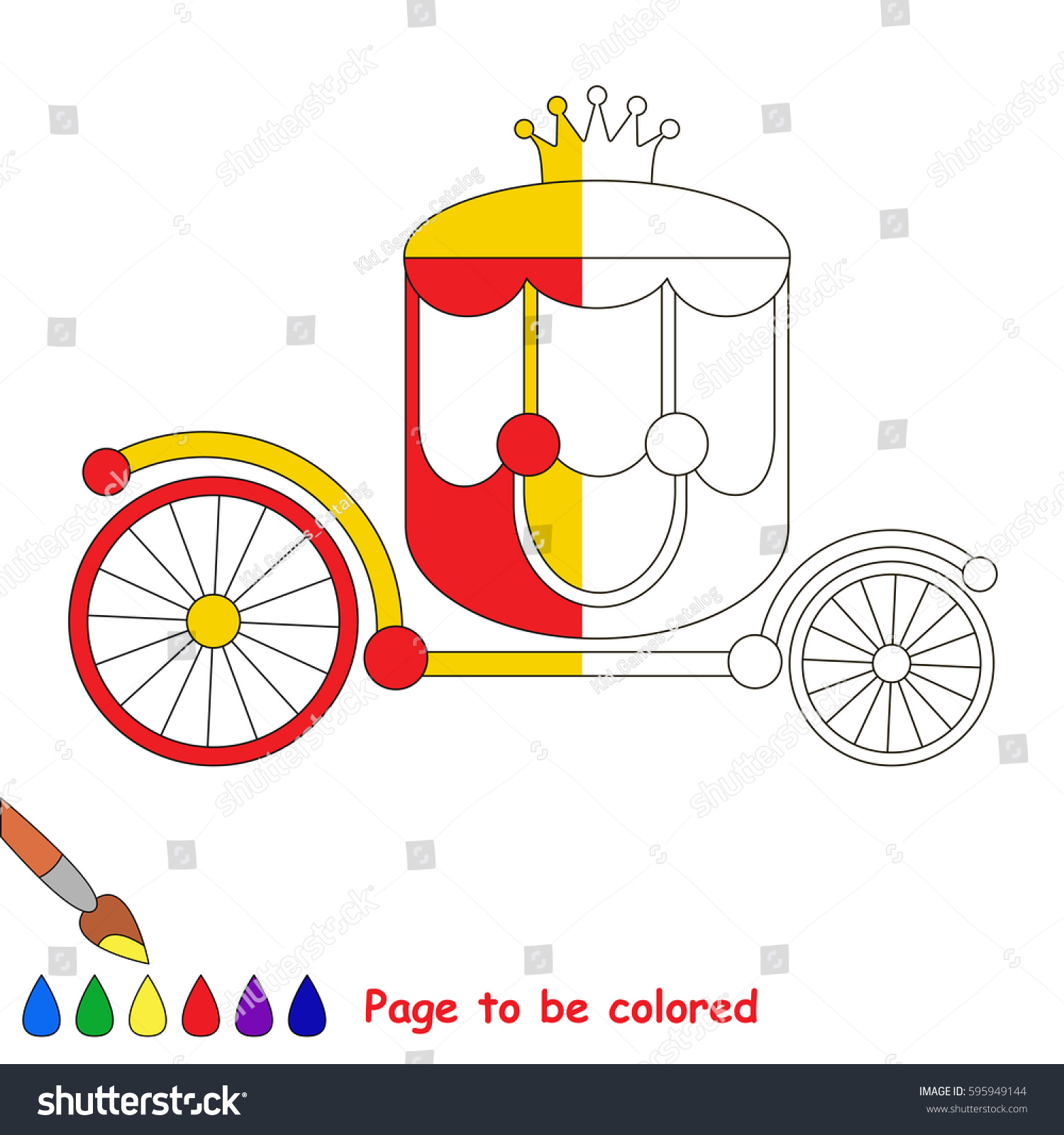Pink Princess Chariot The Coloring Book To Educate Preschool Kids
