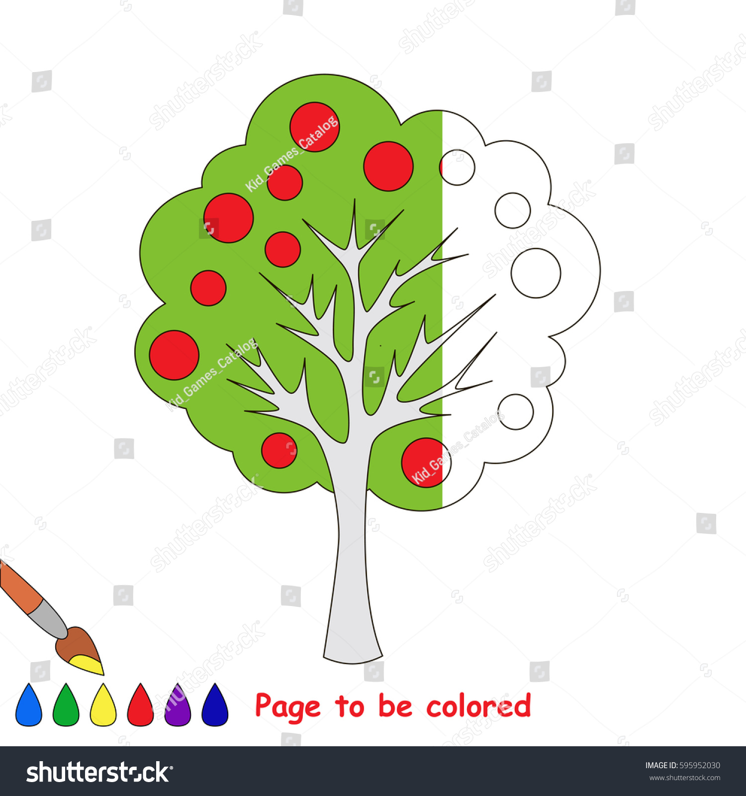 Apple Tree Coloring Book Educate Preschool Stock Vector (Royalty ...