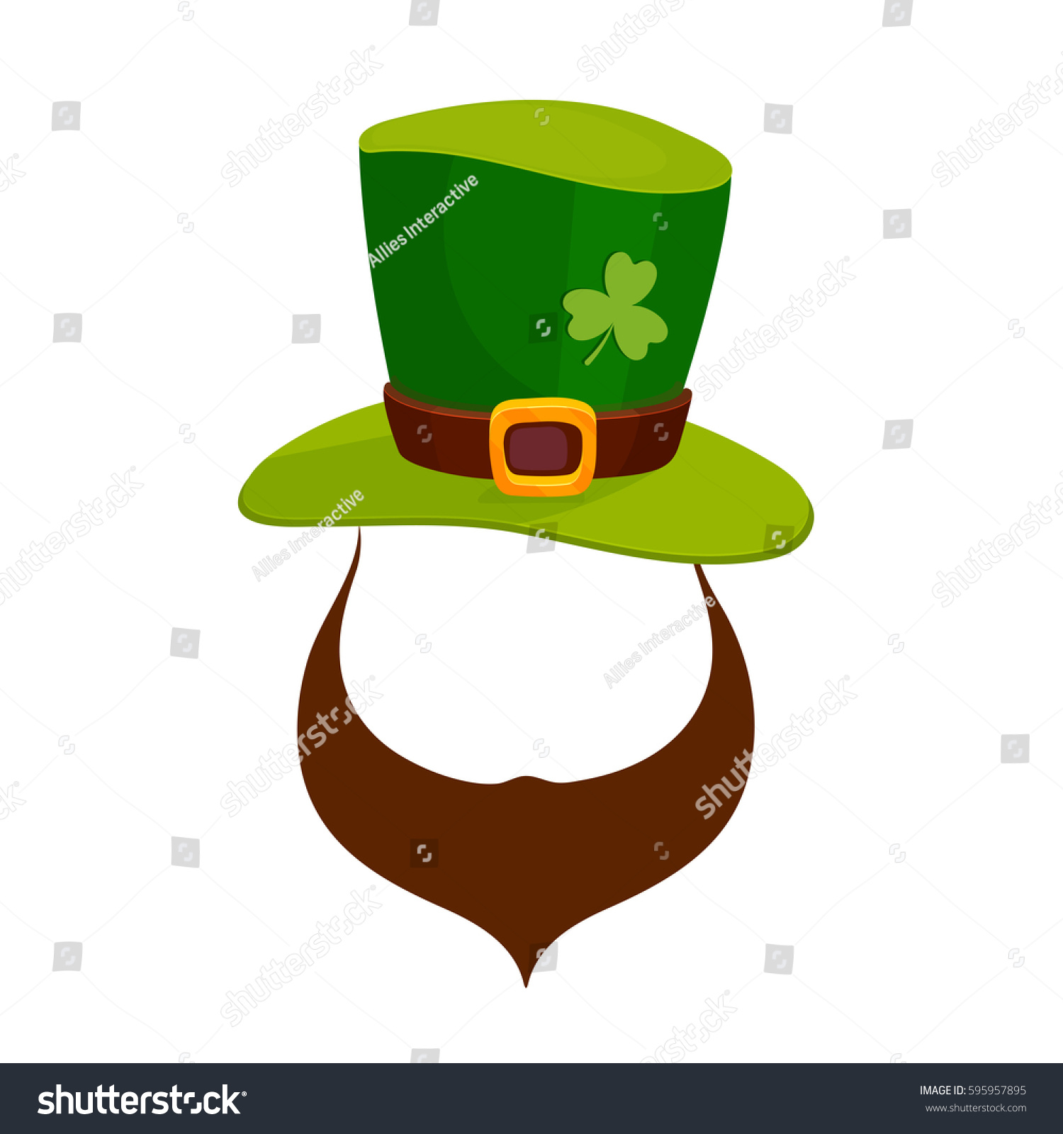 Leprechaun face beard green hat happy stock vector for Leprechaun mask template