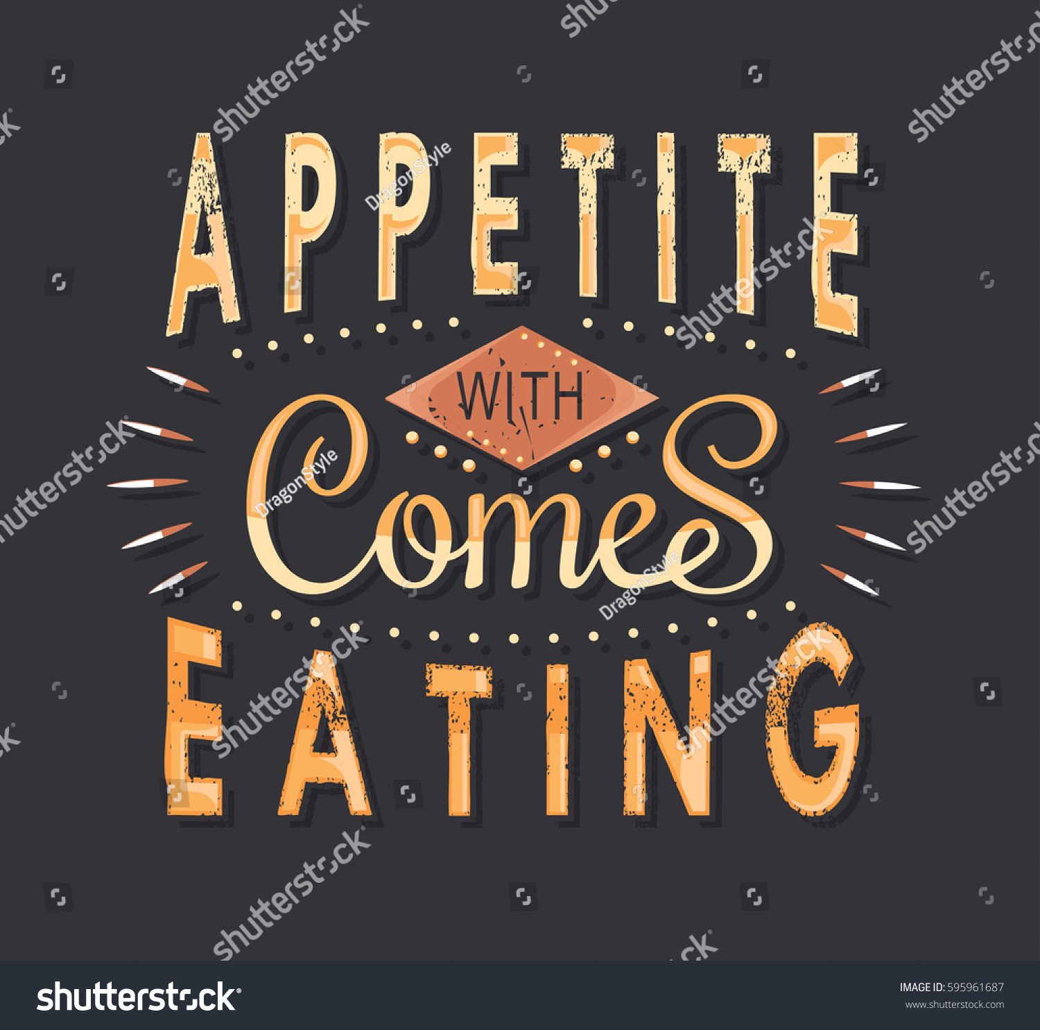 Set Vintage Food Typographic Quotes Vector Stock Vector (Royalty Free)  595961687