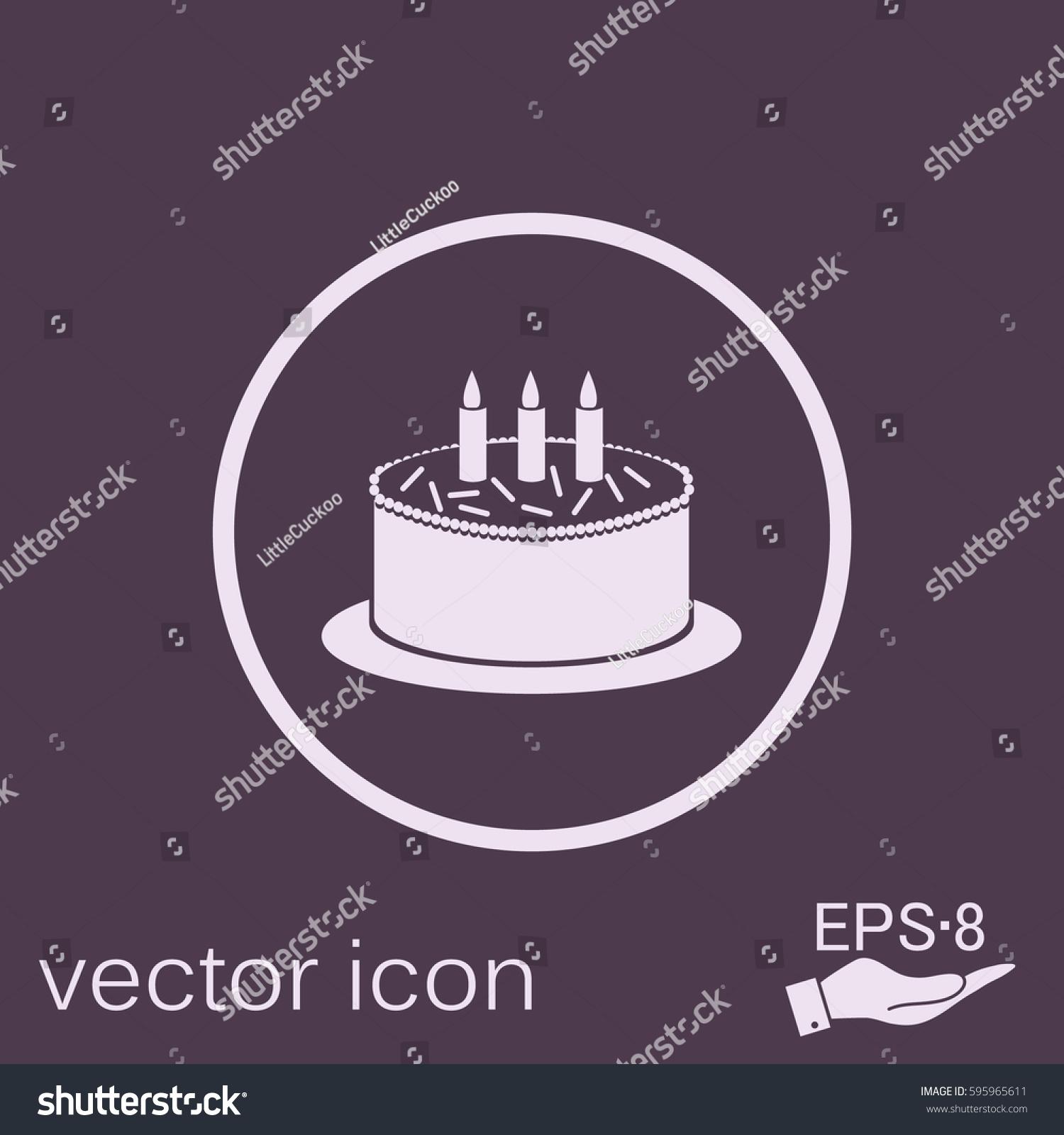 Birthday Cake Icon Symbol Cake Celebrating Stock Vector 595965611
