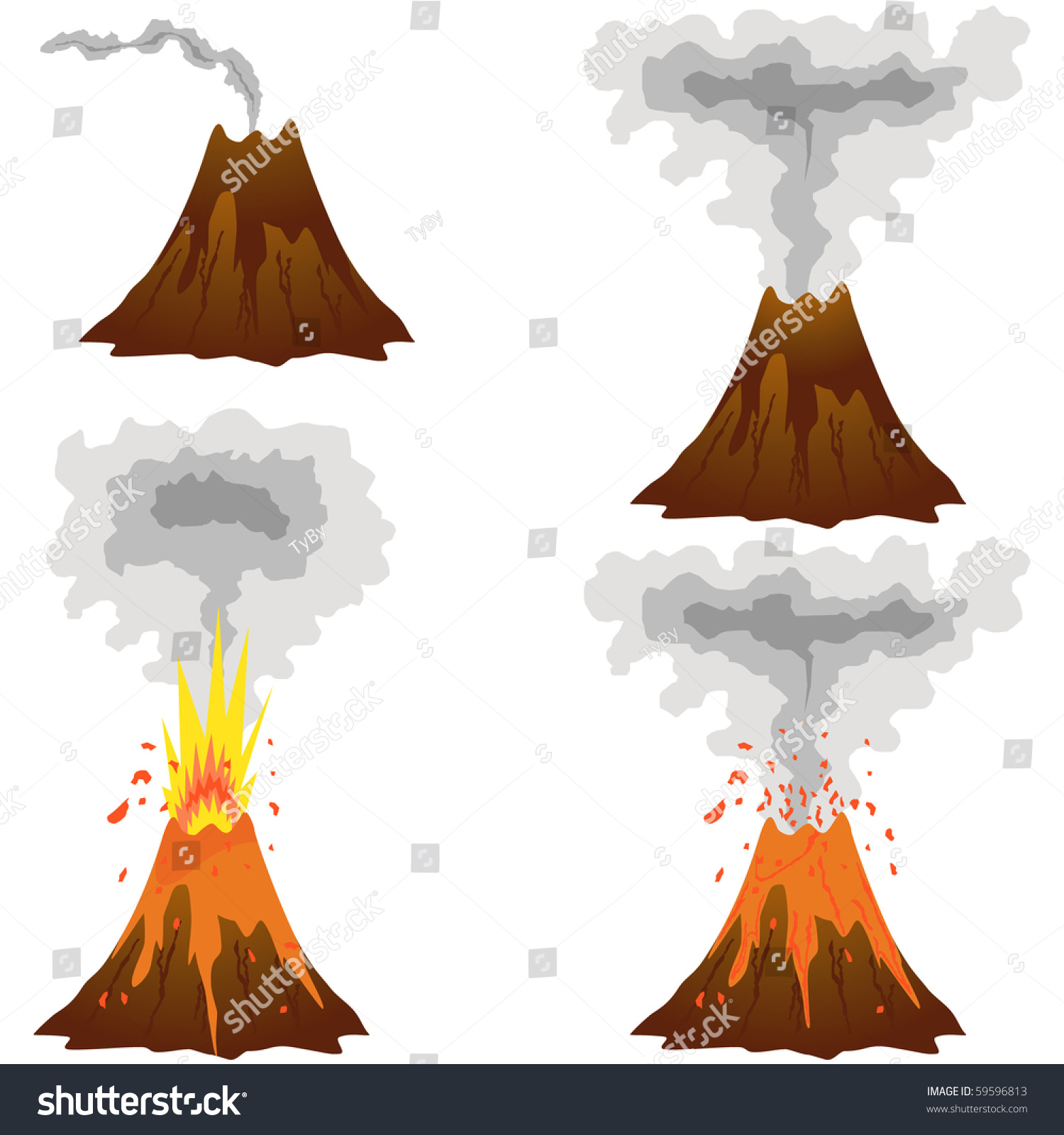 free clipart volcano erupting - photo #48