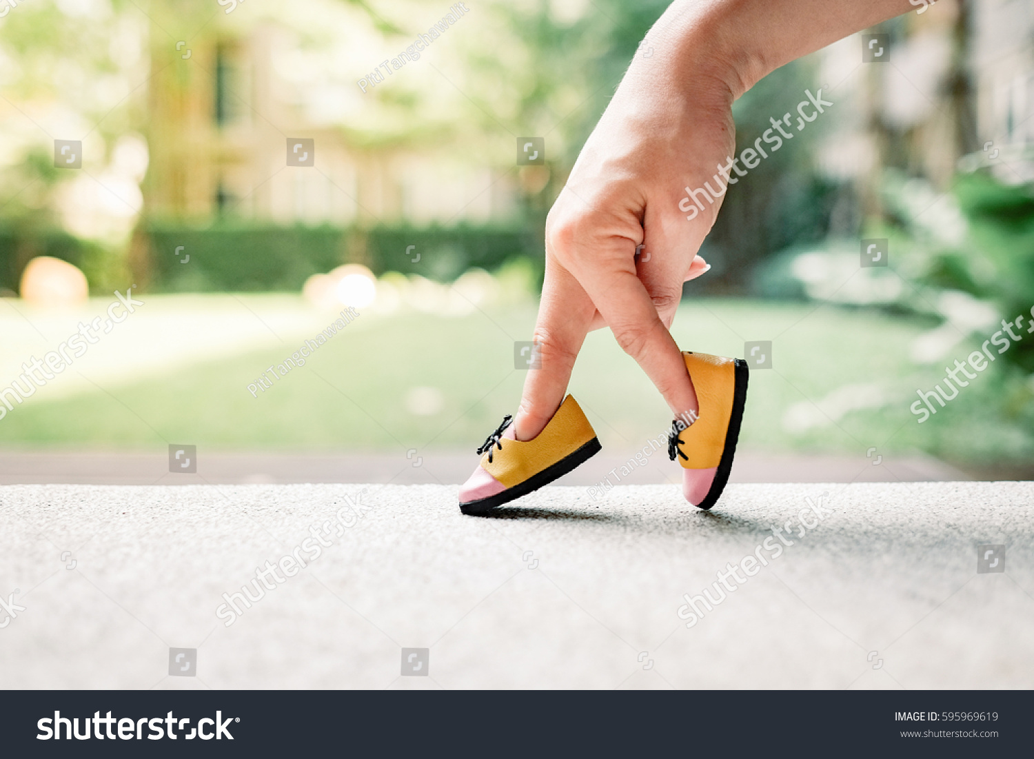 woman hand finger walking with shoe concept, Traveler adventure outdoor summer vacations concept, Healthy lifestyle concept. Stay at home quarantine for coronavirus. #595969619